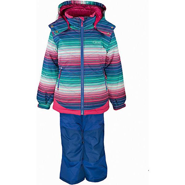 Комплект: куртка и полукомбинезон GUSTIВерхняя одежда<br>Комплект: куртка и полукомбинезон GUSTI (ГУСТИ) – это идеальный вариант для суровой зимы с сильными морозами.<br><br>Температурный режим: до -30  градусов. Степень утепления – высокая. <br><br>* Температурный режим указан приблизительно — необходимо, прежде всего, ориентироваться на ощущения ребенка. Температурный режим работает в случае соблюдения правила многослойности – использования флисовой поддевы и термобелья.<br><br>Комплект от GUSTI (ГУСТИ) состоит из куртки и полукомбинезона, выполненных из плотного непромокаемого материала с защитной от влаги мембраной 5000 мм. Тань хорошо сохраняет тепло, отталкивает влагу и позволяет коже ребенка дышать. Утеплитель из тек-полифилла и флисовая внутренняя отделка на груди и на спинке дают возможность использовать комплект при очень низких температурах. Куртка застегивается на молнию, имеет два боковых кармана на застежках-молниях, снегозащитную юбку, трикотажные манжеты в рукавах, высокий ворот с защитой подбородка, отстёгивающийся прилегающий капюшон с подкладкой из искусственного меха. Низ рукавов регулируется с помощью липучек. Полукомбинезон застегивается на молнию, имеет накладной карман с клапаном на липучке, регулируемые лямки, снегозащитные гетры. Длина брючин регулируется (отворот с креплением на липе). Сзади, на коленях, и по низу брючин имеется дополнительный слой ткани Cordura Oxford (сверхстойкий полиэстер). До размера 6х (120 см.) у полукомбинезона высокая грудка, в размерах 7 (122 см.) - 14 (164см) отстегивающаяся спинка, грудки нет. Модель подходит для прогулок на морозе до -30 градусов.<br><br>Дополнительная информация:<br><br>- Сезон: зима<br>- Пол: девочка<br>- Цвет: синий, розовый<br>- Узор: полоска<br>- Температурный режим до -30 градусов<br>- Материал верха: куртка - shuss 5000мм (100% полиэстер); брюки - taslan 5000мм, накладки Cordura Oxford сзади, на коленях, и по низу брючин<br>- Наполнитель: куртка - тек-полифилл плотностью 283 гр/м (10 ун