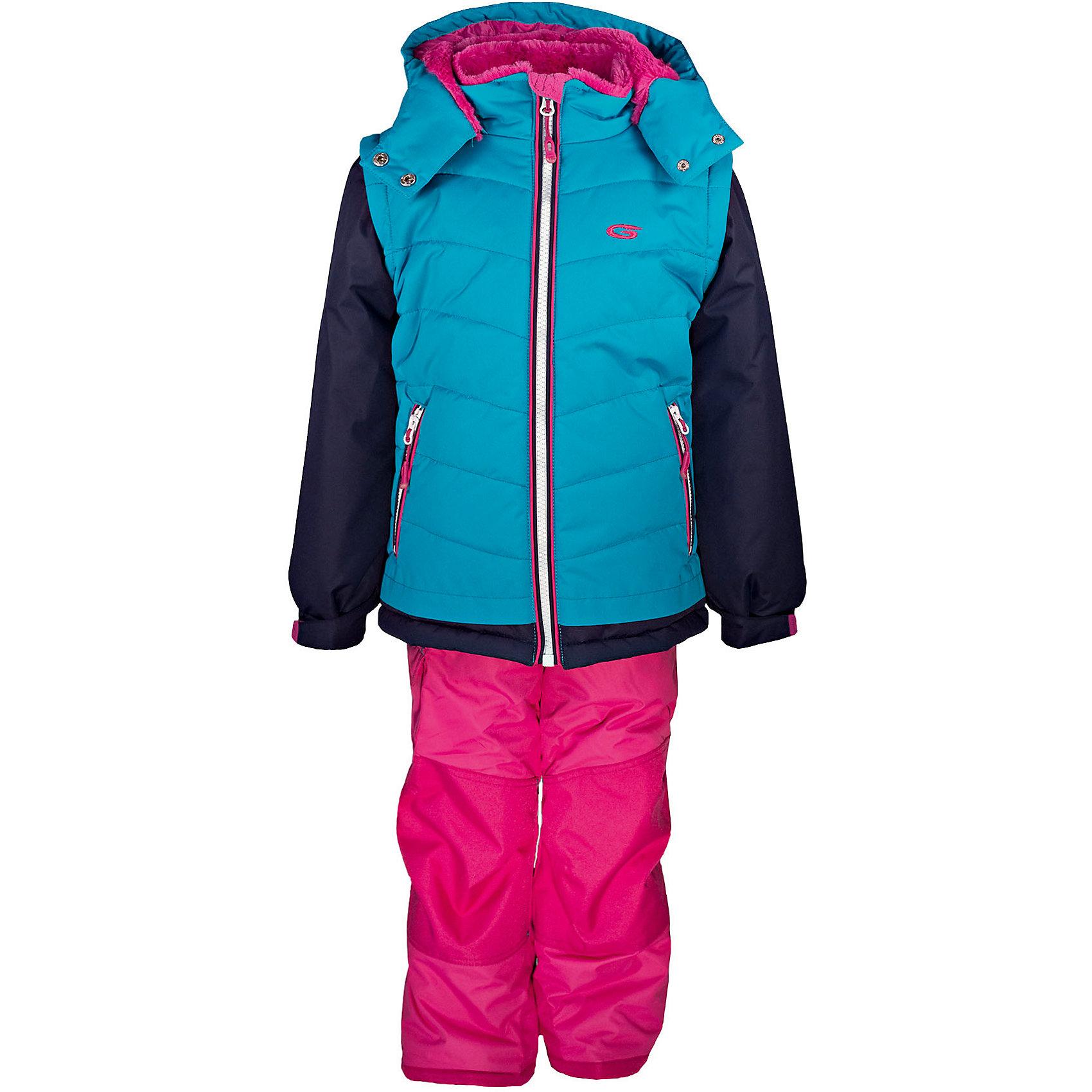 Комплект: куртка и полукомбинезон GUSTIКомплект: куртка и полукомбинезон GUSTI (ГУСТИ) – это идеальный вариант для суровой зимы с сильными морозами.<br><br>Температурный режим: до -30  градусов. Степень утепления – высокая. <br><br>* Температурный режим указан приблизительно — необходимо, прежде всего, ориентироваться на ощущения ребенка. Температурный режим работает в случае соблюдения правила многослойности – использования флисовой поддевы и термобелья.<br><br>Комплект от GUSTI (ГУСТИ) состоит из куртки и полукомбинезона, выполненных из плотного непромокаемого материала с защитной от влаги мембраной 5000 мм. Тань хорошо сохраняет тепло, отталкивает влагу и позволяет коже ребенка дышать. Утеплитель из тек-полифилла и флисовая внутренняя отделка на груди и на спинке дают возможность использовать комплект при очень низких температурах. Куртка застегивается на молнию, имеет два боковых кармана на молнии, высокий ворот с защитой подбородка, снегозащитную юбку, трикотажные манжеты в рукавах, отстёгивающийся капюшон с подкладкой из искусственного меха. Полукомбинезон застегивается на молнию, имеет накладной карман с клапаном на липучке, регулируемые лямки, снегозащитные гетры. Длина брючин регулируется (отворот с креплением на липе). Сзади, на коленях, и по низу брючин имеется дополнительный слой ткани Cordura Oxford (сверхстойкий полиэстер). До размера 6х (120 см.) у полукомбинезона высокая грудка, в размерах 7 (122 см.) - 14 (164см) отстегивающаяся спинка, грудки нет. Модель подходит для прогулок на морозе до -30 градусов.<br><br>Дополнительная информация:<br><br>- Сезон: зима<br>- Пол: девочка<br>- Цвет: бирюзовый, розовый<br>- Температурный режим до -30 градусов<br>- Материал верха: куртка - shuss 5000мм (100% полиэстер); брюки - taslan 5000мм, накладки Cordura Oxford сзади, на коленях, и по низу брючин<br>- Наполнитель: куртка - тек-полифилл плотностью 283 гр/м (10 унций) 100% полиэстер; брюки - тек-полифилл плотностью 170 гр/м (6 унций) 100% полиэстер<br>- Подкладк