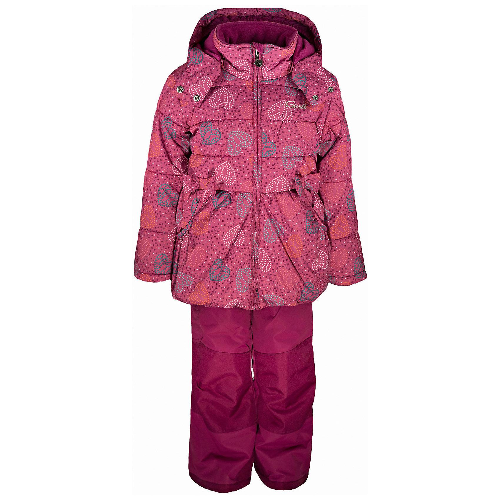 Комплект: куртка и полукомбинезон GUSTIКомплект: куртка и полукомбинезон GUSTI (ГУСТИ) – это идеальный вариант для суровой зимы с сильными морозами.<br><br>Температурный режим: до -30  градусов. Степень утепления – высокая. <br><br>* Температурный режим указан приблизительно — необходимо, прежде всего, ориентироваться на ощущения ребенка. Температурный режим работает в случае соблюдения правила многослойности – использования флисовой поддевы и термобелья.<br><br>Комплект от GUSTI (ГУСТИ) состоит из куртки и полукомбинезона, выполненных из плотного непромокаемого материала с защитной от влаги мембраной 5000 мм. Тань хорошо сохраняет тепло, отталкивает влагу и позволяет коже ребенка дышать. Утеплитель из тек-полифилла и флисовая внутренняя отделка на груди и на спинке дают возможность использовать комплект при очень низких температурах. Куртка застегивается на молнию с ветрозащитной планкой, имеет два боковых кармана, снегозащитную юбку, эластичную утяжку на талии, трикотажные манжеты в рукавах, высокий ворот с защитой подбородка, отстёгивающийся капюшон с флисовой подкладкой. Полукомбинезон застегивается на молнию, имеет накладной карман с клапаном на липучке, регулируемые лямки, снегозащитные гетры. Длина брючин регулируется (отворот с креплением на липе). Сзади, на коленях, и по низу брючин имеется дополнительный слой ткани Cordura Oxford (сверхстойкий полиэстер). До размера 6х (120 см.) у полукомбинезона высокая грудка, в размерах 7 (122 см.) - 14 (164см) отстегивающаяся спинка, грудки нет. Модель подходит для прогулок на морозе до -30 градусов.<br><br>Дополнительная информация:<br><br>- Сезон: зима<br>- Пол: девочка<br>- Цвет: розовый<br>- Температурный режим до -30 градусов<br>- Материал верха: куртка - shuss 5000мм (100% полиэстер); брюки - taslan 5000мм, накладки Cordura Oxford сзади, на коленях, и по низу брючин<br>- Наполнитель: куртка - тек-полифилл плотностью 283 гр/м (10 унций) 100% полиэстер; брюки - тек-полифилл плотностью 170 гр/м (6 унций) 100% полиэс