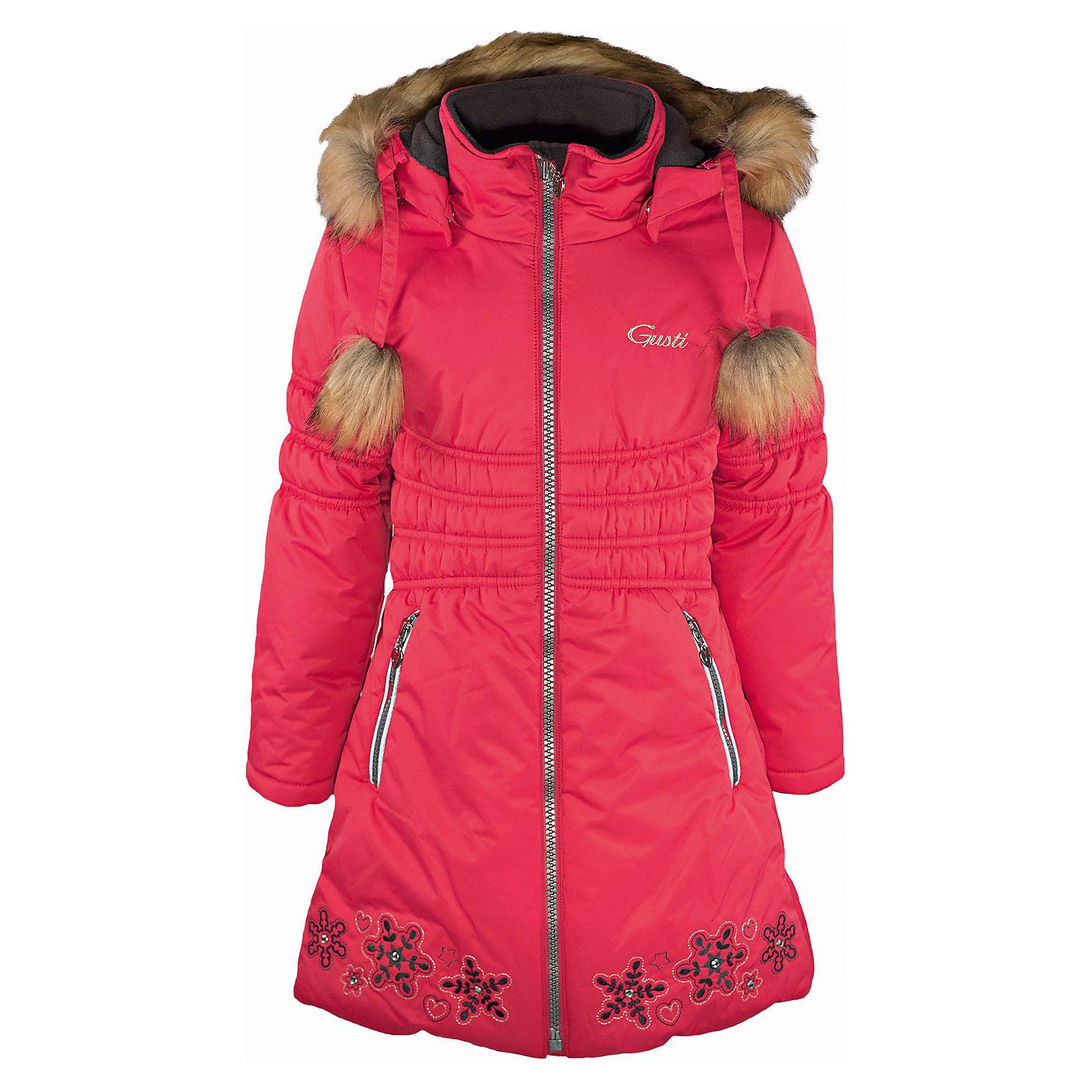 Пальто GUSTIВерхняя одежда<br>Пальто GUSTI (ГУСТИ) – это идеальный вариант для суровой зимы с сильными морозами.<br><br>Температурный режим: до -30  градусов. Степень утепления – высокая. <br><br>* Температурный режим указан приблизительно — необходимо, прежде всего, ориентироваться на ощущения ребенка. Температурный режим работает в случае соблюдения правила многослойности – использования флисовой поддевы и термобелья.<br><br>Пальто от GUSTI (ГУСТИ) выполнено из плотного непромокаемого материала с защитной от влаги мембраной 5000 мм. Тань хорошо сохраняет тепло, отталкивает влагу и позволяет коже ребенка дышать. Утеплитель из тек-полифилла и флисовая внутренняя отделка дают возможность использовать пальто при очень низких температурах. Оригинальности и яркости модели придает вышивка со стразами. Пальто застегивается на молнию с внутренней ветрозащитной планкой, имеет два кармана на застежках-молниях, трикотажные манжеты в рукавах, съемный капюшон с отстегивающейся оторочкой из искусственного меха. Модель подходит для прогулок на морозе до -30 градусов.<br><br>Дополнительная информация:<br><br>- Сезон: зима<br>- Пол: девочка<br>- Цвет: розовый<br>- Температурный режим до -30 градусов<br>- Материал верха: shell с полиуретановым напылением с внутренней стороны (водоотталкивающая пропитка 5000 мм.) 100% полиэстер<br>- Наполнитель: тек-полифилл плотностью 283 гр/м (10 унций) 100% полиэстер<br>- Подкладка: флис (100% полиэстер)<br>- Молнии и фурнитура YKK<br>- Светоотражающие элементы 3М Scotchlite<br><br>Пальто GUSTI (ГУСТИ) можно купить в нашем интернет-магазине.<br><br>Ширина мм: 356<br>Глубина мм: 10<br>Высота мм: 245<br>Вес г: 519<br>Цвет: розовый<br>Возраст от месяцев: 36<br>Возраст до месяцев: 48<br>Пол: Женский<br>Возраст: Детский<br>Размер: 100,92,122,140,164,98<br>SKU: 4972727