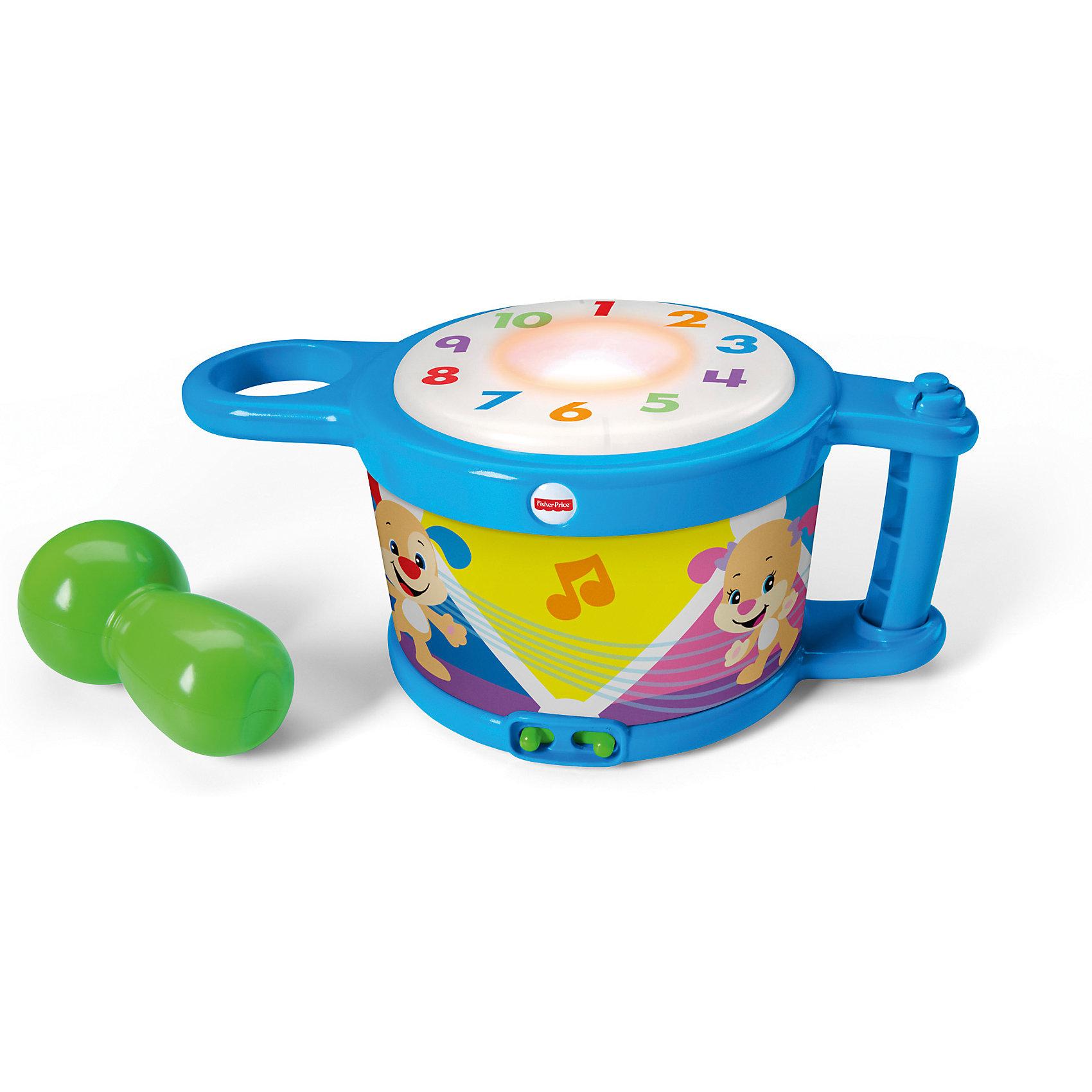 Музыкальный барабан, Fisher PriceМузыкальный барабан - это интересная и развивающая игрушка для вашего малыша. Игрушка предоставлена для маленьких детей, которые только начинают свое развитие. Если включить барабан, то каждый удар будет сопровождаться музыкой и светом. Барабан не только подарит вашему малышу много положительных эмоций, но и поможет в развитии музыкального слуха, чувства ритма и моторики рук. <br><br>В товар входит:<br>-барабан<br>-палка-погремушка<br><br>Дополнительная информация:<br>-Для детей от 6 месяцев до 3 лет<br>-Товар для девочек и мальчиков<br>-Состав: пластик<br>-Марка: Fisher Price(Фишер Прайс)<br><br>Ширина мм: 160<br>Глубина мм: 270<br>Высота мм: 240<br>Вес г: 855<br>Возраст от месяцев: 6<br>Возраст до месяцев: 36<br>Пол: Унисекс<br>Возраст: Детский<br>SKU: 4973470