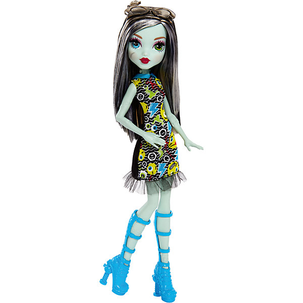 Кукла, Monster HighMonster High<br>Прекрасная Фрэнки Штэйн из серии Emoji одета в стильное платье с любимыми желтыми молниями. Подол платья декорирован сетчатыми оборками. Длинные голубые сапожки с ремешками превосходно сочетаются с бледной кожей мятного оттенка. Стильные очки со смайлом отлично дополняют образ Фрэнки. Плечи, бедра и голова куклы подвижны. Очаровательная Фрэнки Штэйн станет лучшим подарком любительницам смайлов и мультфильма Monster High!<br><br>Дополнительная информация:<br>Материал: пластик, текстиль<br><br>Куклу Фрэнки Штэйн(Monster High) вы можете приобрести в нашем интернет-магазине.<br>Ширина мм: 330; Глубина мм: 106; Высота мм: 60; Вес г: 171; Возраст от месяцев: 72; Возраст до месяцев: 120; Пол: Женский; Возраст: Детский; SKU: 4973473;