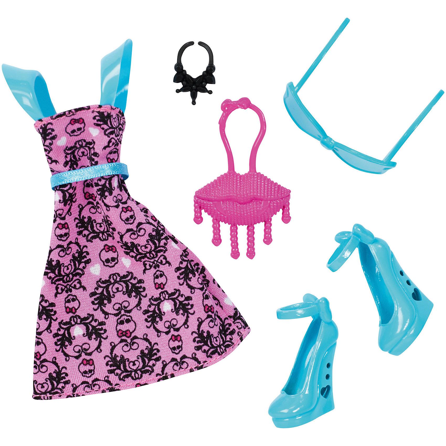 Модные аксессуары, Monster HighНабор модных аксессуаров Monster high поможет нарядить куклу в красивый наряд. Разнообразие аксессуаров позволит менять образы куклы, отчего играть с ней станет еще интереснее. <br>В товар входит:<br>-платье<br>-сумочка<br>-очки<br>-туфли<br>-браслет<br><br>Дополнительная информация:<br>-Товар для девочек<br>-Состав: текстиль, пластик<br>-Марка: Mattel<br><br>Ширина мм: 15<br>Глубина мм: 115<br>Высота мм: 255<br>Вес г: 62<br>Возраст от месяцев: 72<br>Возраст до месяцев: 144<br>Пол: Женский<br>Возраст: Детский<br>SKU: 4973479
