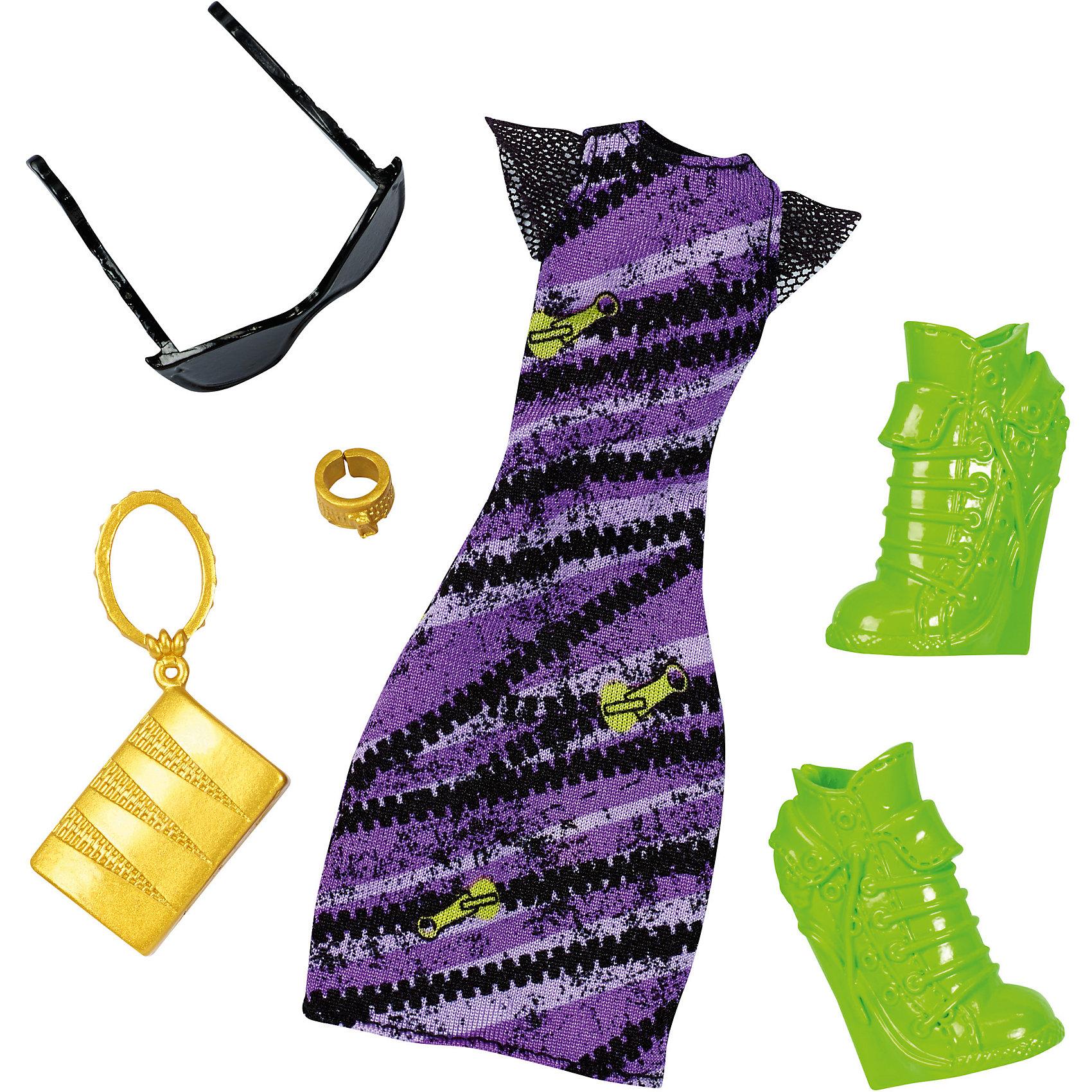 Модные аксессуары, Monster HighНабор модных аксессуаров Monster high поможет нарядить куклу в красивый наряд. Разнообразие аксессуаров позволит менять образы куклы, отчего играть с ней станет еще интереснее. <br>В товар входит:<br>-платье<br>-сумочка<br>-очки<br>-туфли<br>-браслет<br><br>Дополнительная информация:<br>-Товар для девочек<br>-Состав: текстиль, пластик<br>-Марка: Monster High (Монстер Хай)<br><br>Ширина мм: 15<br>Глубина мм: 115<br>Высота мм: 255<br>Вес г: 62<br>Возраст от месяцев: 72<br>Возраст до месяцев: 144<br>Пол: Женский<br>Возраст: Детский<br>SKU: 4973480