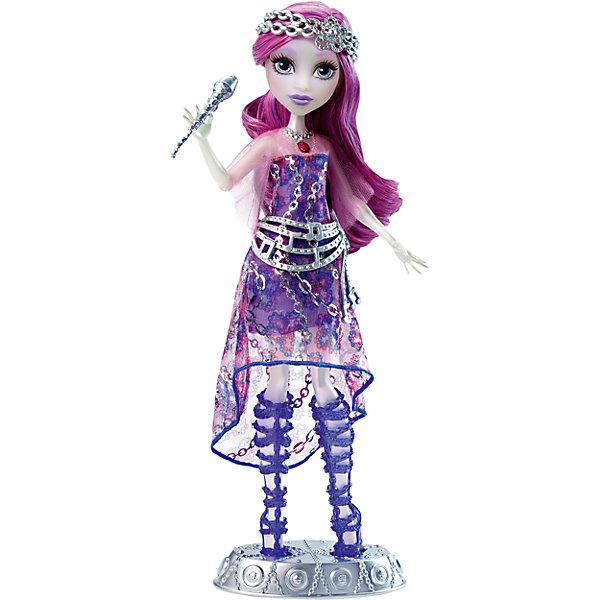 Поющая кукла Спектра, Monster HighКуклы<br>Спектра - дочь Призрака, именно поэтому у нее прозрачное тело. С этой куклой девочка сможет придумать собственную историю о монстрах. В руках Спектра держит микрофон, а внутри куклы спрятан сенсор, который реагирует на приближение. Кукла выглядит очень необычно и эффектно: у нее большие выразительные глаза, розовые волосы и брови и очень симпатичный полупрозрачный наряд. Для удобства хранения в наборе прилагается подставка.<br><br>В товар входит:<br>-кукла<br>-аксессуары<br>Дополнительная информация:<br>-Размер коробки:25,5 х 6,5 х 32,5<br>-Вес:350 г<br>-Состав: текстиль, пластмасса<br>-Для девочек от 6 лет<br>-Марка: Mattel<br>Ширина мм: 65; Глубина мм: 255; Высота мм: 325; Вес г: 428; Возраст от месяцев: 72; Возраст до месяцев: 144; Пол: Женский; Возраст: Детский; SKU: 4973482;