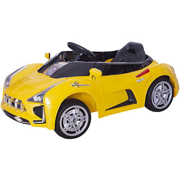 Электромобиль Sport-Car, желтый, BabyHitЭлектромобили<br>Любой ребенок придет в восторг от такого стильного автомобиля! Большие мягкие полиуретановые колеса обеспечат плавный ход. Два электродвигателя позволяют развивать скорость до 5 км/час. Звуковые и световые эффекты сделают прогулки веселыми и яркими. Двери машины открываются. Пульт дистанционного управления позволяет родителям не беспокоиться, что их юный автолюбитель уедет от них.<br>Электромобиль Sport-Car прекрасно детализирован, выглядит как настоящий. <br>Позвольте вашему ребенку ощутить себя опытным водителем собственного роскошного спортивного автомобиля! <br><br>Дополнительная информация:<br><br>- Материал: пластик, металл, полиуретан. <br>- Размер: 116 х 62 х 50 см.<br>- Вес автомобиля: 16,5 см.<br>- Максимальный вес ребенка: 35 кг.<br>- Максимальная скорость 5 км/ч. <br>- Двери открываются.<br>- Звуковые и световые эффекты, МP3.<br>- Для детей в возрасте от 3-х до 8 лет.<br>- Два редуктора/электродвигателя (мощностью 25 Вт каждый).<br>- Два аккумулятора 6В/7Ач.<br>- Пульт дистанционного управления (Bluetooth).<br><br>Электромобиль Sport-Car, желтый, BabyHit (Беби Хит), можно купить в нашем магазине.<br>Ширина мм: 9999; Глубина мм: 9999; Высота мм: 9999; Вес г: 20000; Возраст от месяцев: 24; Возраст до месяцев: 84; Пол: Унисекс; Возраст: Детский; SKU: 4974816;