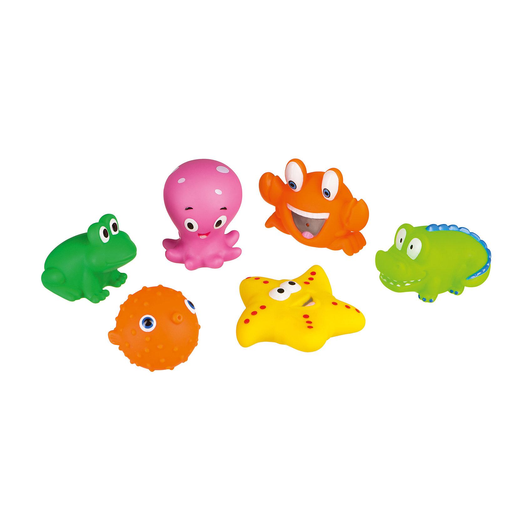 Набор ПВХ-игрушек для купания Water funИгрушки ПВХ<br>Характеристики:<br><br>• Предназначение: для игр в ванной, для развивающих игр<br>• Материал: поливинилхлорид <br>• Вес: 152 г<br>• Размеры (Д*В*Ш): 8*1,7*1,4 см<br>• Упаковка: сетка<br>• Особенности ухода: можно мыть в теплой мыльной воде<br><br>Набор ПВХ-игрушек для купания WATER FUN – это многофункциональная игрушка, предназначенная для игр с водой или песком, а также для развивающих занятий. Набор состоит из игрушек, выполненных в виде морских обитателей и земноводных. Все животные  изготовлены из ПВХ, который отличается мягкостью, но при этом прочностью. Не вызывает аллергических реакций и не имеет запаха. <br><br>Имеющиеся отверстия в игрушках позволяют набирать в них воду и запускать струйки. С помощью этого набора ребенок может познакомиться не только с богатым подводным миром, но и изучить разные цвета и формы. Набор ПВХ-игрушек для купания WATER FUN сделает купание вашего малыша не только приятным и увлекательным, но и познавательным времяпрепровождением.<br><br>Набор ПВХ-игрушек для купания WATER FUN можно купить в нашем интернет-магазине.<br><br>Ширина мм: 140<br>Глубина мм: 150<br>Высота мм: 150<br>Вес г: 152<br>Возраст от месяцев: 6<br>Возраст до месяцев: 36<br>Пол: Унисекс<br>Возраст: Детский<br>SKU: 4974826