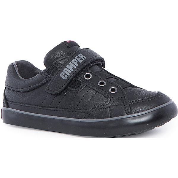 Полуботинки для мальчика CamperБотинки<br>Характеристики:<br><br>• Предназначение: повседневная обувь<br>• Сезон: демисезонные<br>• Пол: для мальчика<br>• Цвет: черный, серый<br>• Материал верха и стельки: натуральная кожа<br>• Материал подошвы: резина<br>• Тип каблука и подошвы: плоская<br>• Тип застежки: липучки, шнурки<br>• Уход: удаление загрязнений мягкой тканью<br><br>Полуботинки для мальчика Camper изготовлены испанским торговым брендом, специализирующимся на производстве обуви премиум-класса. Детская обувь Camper учитывает анатомические особенности детской растущей ноги, поэтому она изготавливается исключительно из натуральной кожи. Сникеры выполнены из гладкой кожи, все элементы верха прошиты, для защиты от натирания предусмотрена мягкая пятка. Полуботинки выполнены в классическом спортивном стиле, на подошве и ремешке-липучке имеется брендовая надпись.<br><br>Полуботинки для мальчика Camper можно купить в нашем интернет-магазине.<br><br>Ширина мм: 262<br>Глубина мм: 176<br>Высота мм: 97<br>Вес г: 427<br>Цвет: черный<br>Возраст от месяцев: 144<br>Возраст до месяцев: 156<br>Пол: Мужской<br>Возраст: Детский<br>Размер: 36,37,26,30,25,27,28,35,31,32,29,33,38,34<br>SKU: 4974848