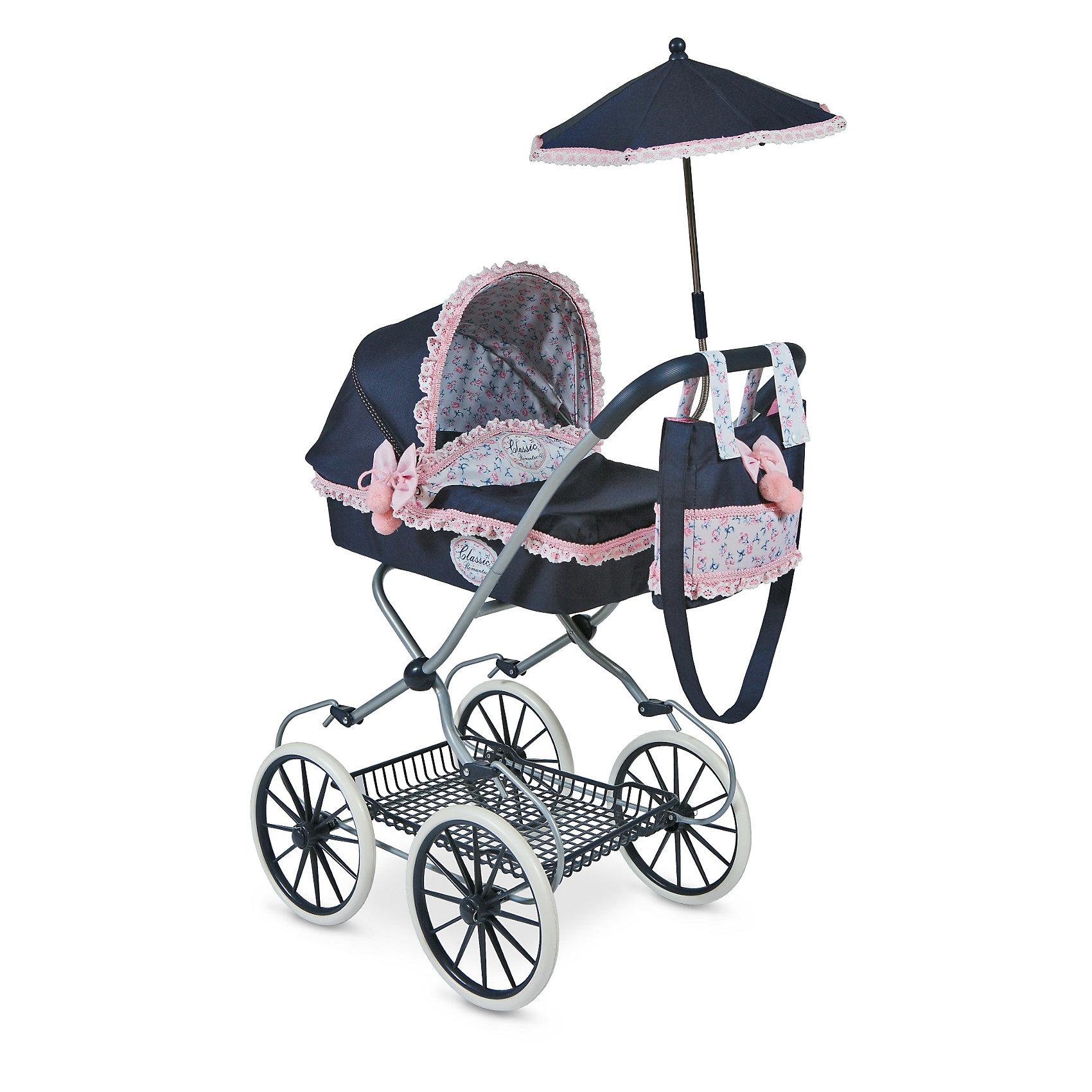 Коляска с сумкой и зонтиком Романтик, DeCuevasКоляски и транспорт для кукол<br>Кукла для девочки - это не только игрушка, с которой можно весело провести время, кукла - это возможность отрабатывать навыки поведения в обществе, учиться заботе о других, делать прически и одеваться согласно моде и поводу. Любимой кукле обязательно нужна коляска.<br>Эта красивая коляска не только эффектно выглядит, она легко складывается. В ней есть всё необходимое для комфорта - зонт и сумка на ручке. Игрушка украшена ажурной отделкой, в ней - прочный металлический каркас. Произведена коляска из безопасных для ребенка и качественных материалов.<br><br>Дополнительная информация:<br><br>цвет: разноцветный;<br>материал: пластик, текстиль, металл;<br>есть зонт и сумка на ручке;<br>размер: 68 х 42 х 81 см.<br><br>Коляску с сумкой и зонтиком Романтик от компании DeCuevas можно купить в нашем магазине.<br><br>Ширина мм: 42<br>Глубина мм: 68<br>Высота мм: 81<br>Вес г: 5030<br>Возраст от месяцев: 36<br>Возраст до месяцев: 2147483647<br>Пол: Женский<br>Возраст: Детский<br>SKU: 4975802