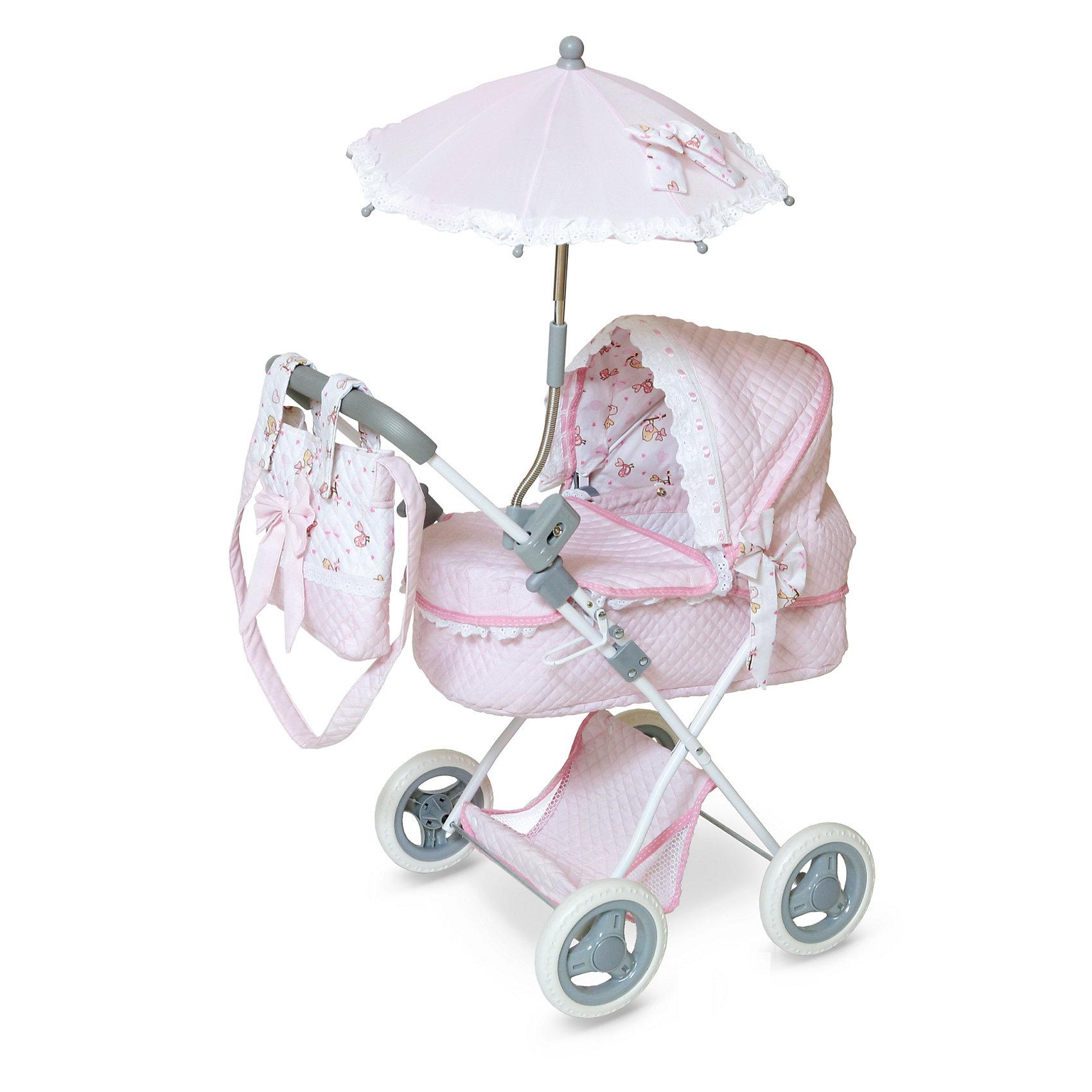 Коляска с сумкой Романтик, розовая, DeCuevasКукла для девочки - это не только игрушка, с которой можно весело провести время, кукла - это возможность отрабатывать навыки поведения в обществе, учиться заботе о других, делать прически и одеваться согласно моде и поводу. Любимой кукле обязательно нужна коляска.<br>Эта красивая коляска не только эффектно выглядит, она легко складывается. В ней есть всё необходимое для комфорта - зонт и сумка на ручке. Игрушка украшена ажурной отделкой, в ней - прочный металлический каркас. Произведена коляска из безопасных для ребенка и качественных материалов.<br><br>Дополнительная информация:<br><br>цвет: розовый;<br>материал: пластик, текстиль, металл;<br>есть зонт и сумка на ручке;<br>размер: 38 х 65 х 60 см.<br><br>Коляску с сумкой Романтик от компании DeCuevas можно купить в нашем магазине.<br><br>Ширина мм: 38<br>Глубина мм: 60<br>Высота мм: 65<br>Вес г: 2300<br>Возраст от месяцев: 36<br>Возраст до месяцев: 2147483647<br>Пол: Женский<br>Возраст: Детский<br>SKU: 4975804