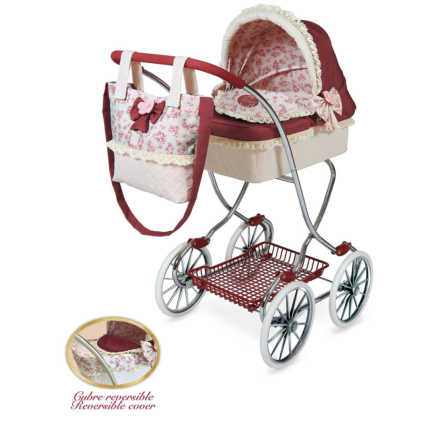 Коляска с сумкой Мартина, DeCuevasТранспорт и коляски для кукол<br>Кукла для девочки - это не только игрушка, с которой можно весело провести время, кукла - это возможность отрабатывать навыки поведения в обществе, учиться заботе о других, делать прически и одеваться согласно моде и поводу. Любимой кукле обязательно нужна коляска.<br>Эта красивая коляска не только эффектно выглядит, она легко складывается. В ней есть всё необходимое для комфорта - корзина для покупок и сумка на ручке. Игрушка украшена отделкой, в ней - прочный металлический каркас. Произведена коляска из безопасных для ребенка и качественных материалов.<br><br>Дополнительная информация:<br><br>цвет: розовый;<br>материал: пластик, текстиль, металл;<br>есть корзина для покупок и сумка на ручке;<br>размер: 80 х 45 х 90 см.<br><br>Коляску с сумкой Мартина от компании DeCuevas можно купить в нашем магазине.<br><br>Ширина мм: 45<br>Глубина мм: 80<br>Высота мм: 90<br>Вес г: 4830<br>Возраст от месяцев: 36<br>Возраст до месяцев: 2147483647<br>Пол: Женский<br>Возраст: Детский<br>SKU: 4975806