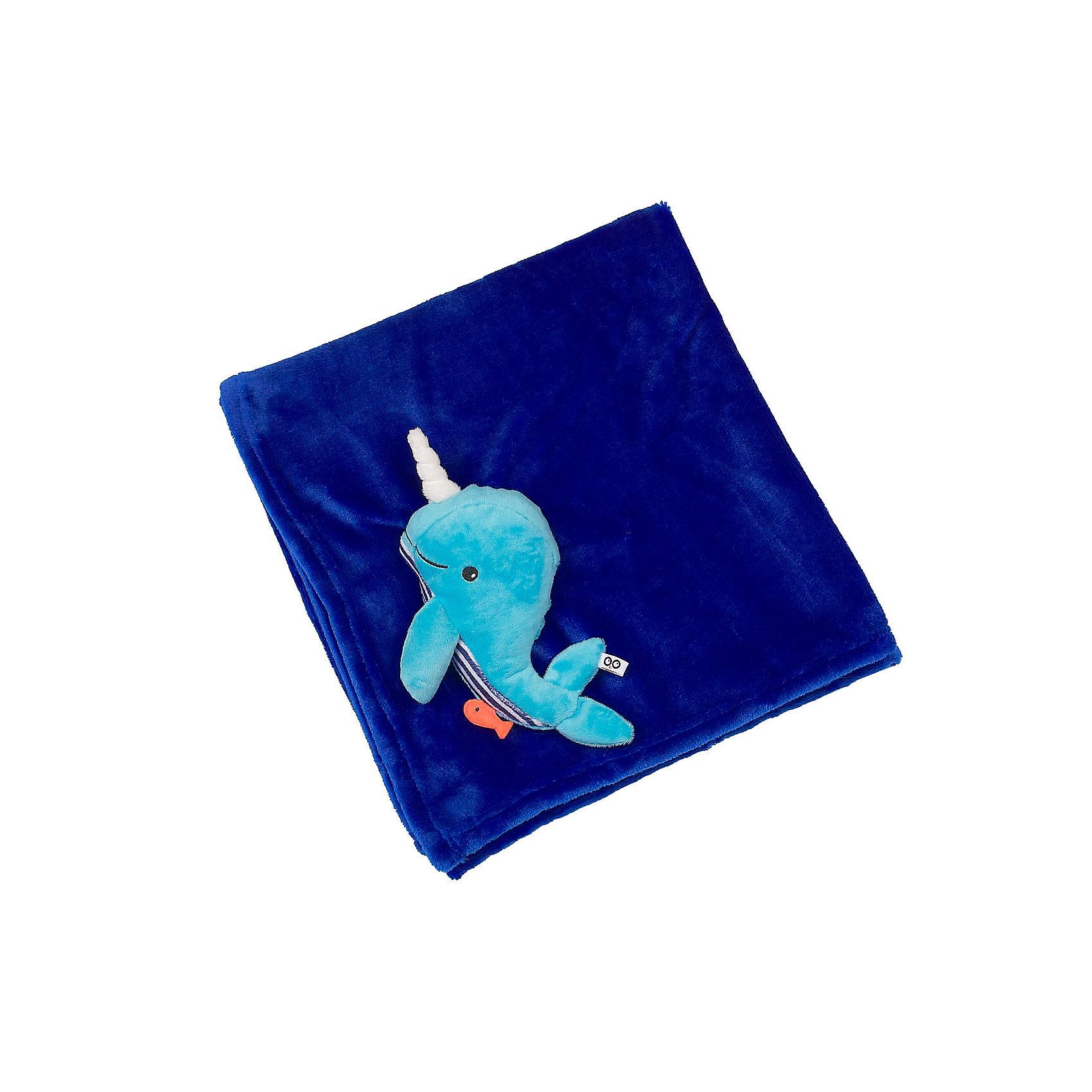 Zoocchini Одеяло с игрушкой Кит, Zoocchini, синий