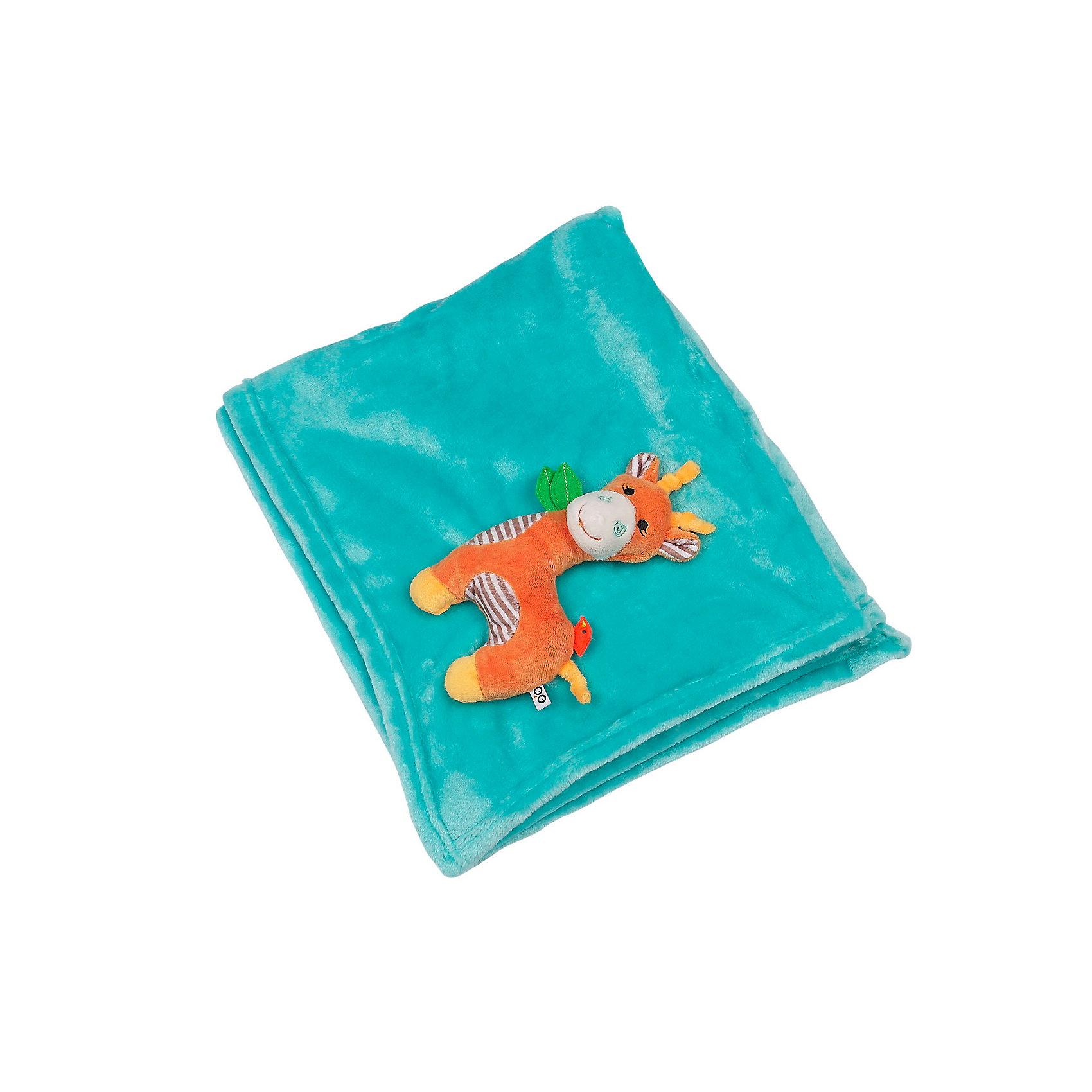 Zoocchini Одеяло с игрушкой Жираф, Zoocchini, аква