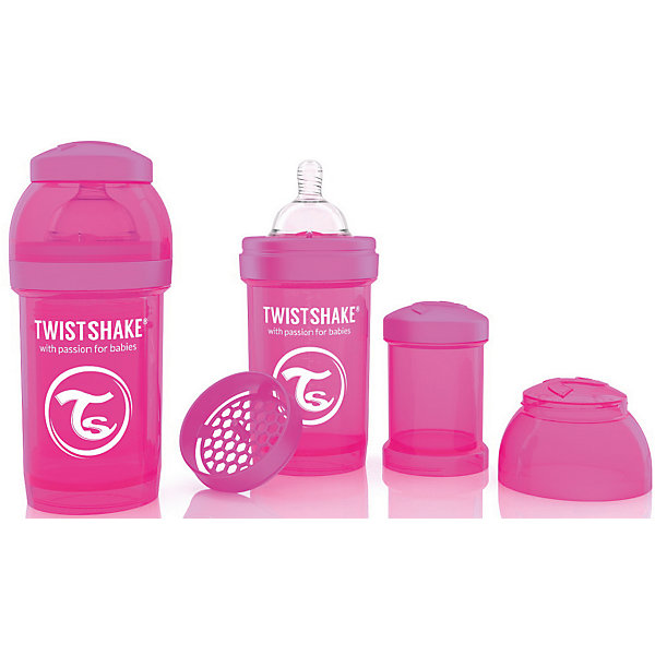Антиколиковая бутылочка 180 мл., Twistshake, розовыйБутылочки и аксессуары<br>Антиколиковая бутылочка 180 мл., розовый от шведского бренда Twistshake (Твистшейк), придет по вкусу малышам и современным родителям. Эти бутылочки идут в комплекте с контейнером для сухой смеси, чтобы можно было готовить смесь в любом месте непосредсвенно перед кормлением. Также в комплект входит решеточка для разбивки комочков смеси, делая саму смесь идеальной. Материал бутылочки имеет свойства сохранения температуры, не содержит бисфенол А. Удобная форма горлышка обеспечивает доступ к полной промывки бутылочки, можно стерилизовать как холодным, так и горячим методами. Небольшой контейнер для смеси (100 мл.) можно использовать для хранения еды, например печенья или кусочков яблока. Соска бутылочки имеет ортодонтичную форму, благодаря специальному клапану и строению предотвращает попадание воздуха и снижает вероятность появления коликов у крохи. Все предметы складываются в бутылочку для удобной транспортировки и хранения. Также можно купить бутылочки разных цветов и комбинировать их в любимые цветовые сочетания.<br><br>Дополнительная информация:<br><br>- В комплект входит: бутылочка с соской 180 мл., контейнер с крышкой 100 мл., решетка, крышка для бутылочки.<br>- Состав бутылочки: 100% пропиллен<br>- Состав соски: силикон<br><br>Антиколиковую бутылочку 180 мл., Twistshake, розовый можно купить в нашем интернет-магазине.<br>Подробнее:<br>• Для детей в возрасте: от 0 до 1 года<br>• Номер товара: 4976038<br>Страна производитель: Китай<br><br>Ширина мм: 70<br>Глубина мм: 70<br>Высота мм: 160<br>Вес г: 152<br>Возраст от месяцев: 0<br>Возраст до месяцев: 12<br>Пол: Унисекс<br>Возраст: Детский<br>SKU: 4976038