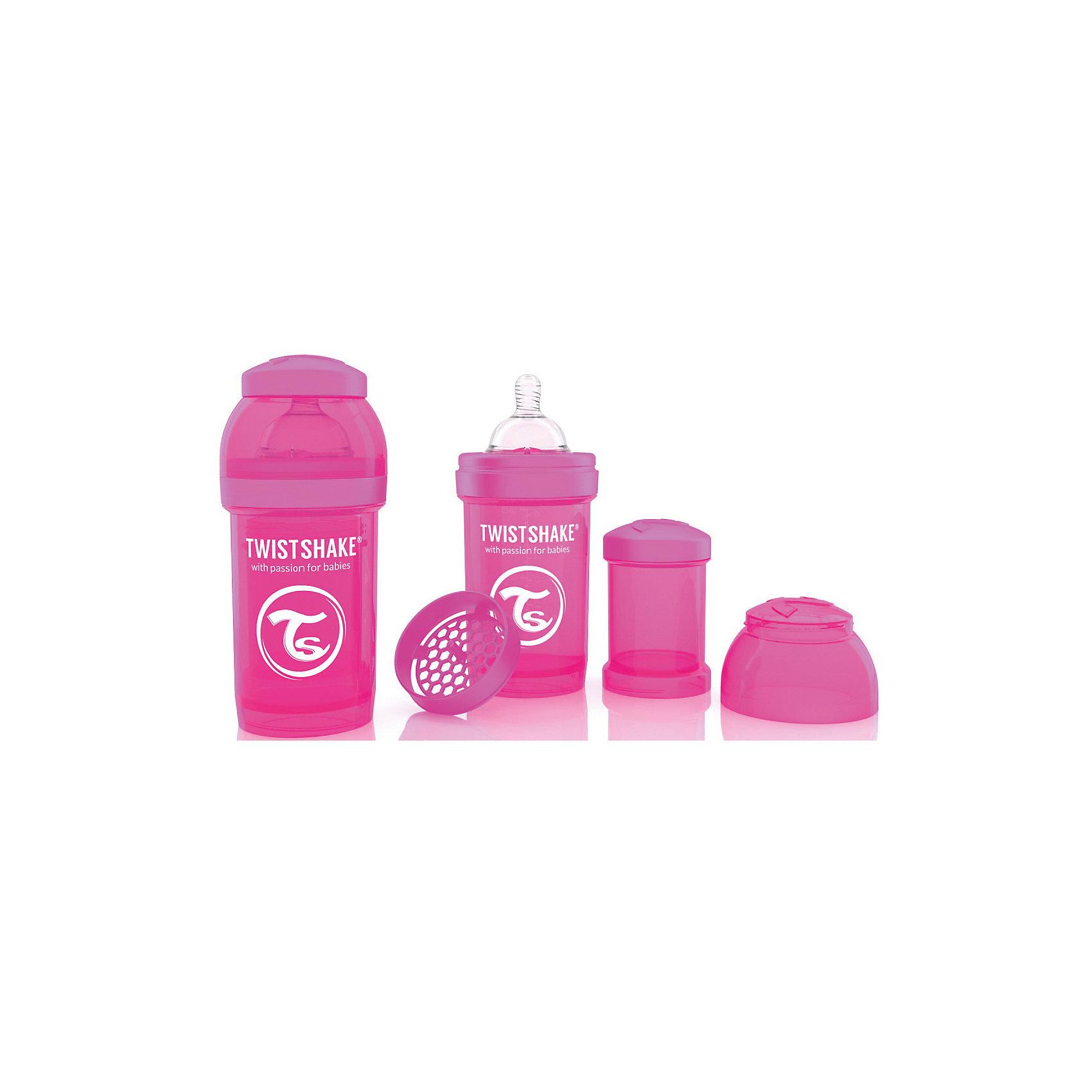 Антиколиковая бутылочка 180 мл., Twistshake, розовыйАнтиколиковая бутылочка 180 мл., розовый от шведского бренда Twistshake (Твистшейк), придет по вкусу малышам и современным родителям. Эти бутылочки идут в комплекте с контейнером для сухой смеси, чтобы можно было готовить смесь в любом месте непосредсвенно перед кормлением. Также в комплект входит решеточка для разбивки комочков смеси, делая саму смесь идеальной. Материал бутылочки имеет свойства сохранения температуры, не содержит бисфенол А. Удобная форма горлышка обеспечивает доступ к полной промывки бутылочки, можно стерилизовать как холодным, так и горячим методами. Небольшой контейнер для смеси (100 мл.) можно использовать для хранения еды, например печенья или кусочков яблока. Соска бутылочки имеет ортодонтичную форму, благодаря специальному клапану и строению предотвращает попадание воздуха и снижает вероятность появления коликов у крохи. Все предметы складываются в бутылочку для удобной транспортировки и хранения. Также можно купить бутылочки разных цветов и комбинировать их в любимые цветовые сочетания.<br><br>Дополнительная информация:<br><br>- В комплект входит: бутылочка с соской 180 мл., контейнер с крышкой 100 мл., решетка, крышка для бутылочки.<br>- Состав бутылочки: 100% пропиллен<br>- Состав соски: силикон<br><br>Антиколиковую бутылочку 180 мл., Twistshake, розовый можно купить в нашем интернет-магазине.<br>Подробнее:<br>• Для детей в возрасте: от 0 до 1 года<br>• Номер товара: 4976038<br>Страна производитель: Китай<br><br>Ширина мм: 70<br>Глубина мм: 70<br>Высота мм: 160<br>Вес г: 152<br>Возраст от месяцев: 0<br>Возраст до месяцев: 12<br>Пол: Унисекс<br>Возраст: Детский<br>SKU: 4976038