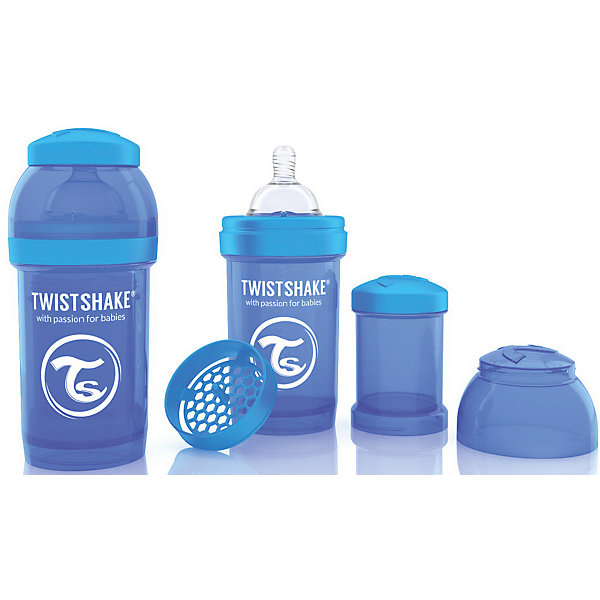 Антиколиковая бутылочка 180 мл., Twistshake, синийБутылочки и аксессуары<br>Антиколиковая бутылочка 180 мл., синий от шведского бренда Twistshake (Твистшейк), придет по вкусу малышам и современным родителям. Эти бутылочки идут в комплекте с контейнером для сухой смеси, чтобы можно было готовить смесь в любом месте непосредсвенно перед кормлением. Также в комплект входит решеточка для разбивки комочков смеси, делая саму смесь идеальной. Материал бутылочки имеет свойства сохранения температуры, не содержит бисфенол А. Удобная форма горлышка обеспечивает доступ к полной промывки бутылочки, можно стерилизовать как холодным, так и горячим методами. Небольшой контейнер для смеси (100 мл.) можно использовать для хранения еды, например печенья или кусочков яблока. Соска бутылочки имеет ортодонтичную форму, благодаря специальному клапану и строению предотвращает попадание воздуха и снижает вероятность появления коликов у крохи. Все предметы складываются в бутылочку для удобной транспортировки и хранения. Также можно купить бутылочки разных цветов и комбинировать их в любимые цветовые сочетания.<br><br>Дополнительная информация:<br><br>- В комплект входит: бутылочка с соской 180 мл., контейнер с крышкой 100 мл., решетка, крышка для бутылочки.<br>- Состав бутылочки: 100% пропиллен<br>- Состав соски: силикон<br><br>Антиколиковую бутылочку 180 мл., Twistshake, синий можно купить в нашем интернет-магазине.<br>Подробнее:<br>• Для детей в возрасте: от 0 до 1 года<br>• Номер товара: 4976039<br>Страна производитель: Китай<br><br>Ширина мм: 70<br>Глубина мм: 70<br>Высота мм: 160<br>Вес г: 152<br>Возраст от месяцев: 0<br>Возраст до месяцев: 12<br>Пол: Унисекс<br>Возраст: Детский<br>SKU: 4976039