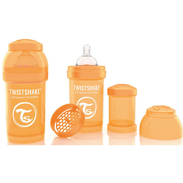 Антиколиковая бутылочка 180 мл., Twistshake, оранжевыйБутылочки и аксессуары<br>Антиколиковая бутылочка 180 мл., оранжевый от шведского бренда Twistshake (Твистшейк), придет по вкусу малышам и современным родителям. Эти бутылочки идут в комплекте с контейнером для сухой смеси, чтобы можно было готовить смесь в любом месте непосредсвенно перед кормлением. Также в комплект входит решеточка для разбивки комочков смеси, делая саму смесь идеальной. Материал бутылочки имеет свойства сохранения температуры, не содержит бисфенол А. Удобная форма горлышка обеспечивает доступ к полной промывки бутылочки, можно стерилизовать как холодным, так и горячим методами. Небольшой контейнер для смеси (100 мл.) можно использовать для хранения еды, например печенья или кусочков яблока. Соска бутылочки имеет ортодонтичную форму, благодаря специальному клапану и строению предотвращает попадание воздуха и снижает вероятность появления коликов у крохи. Все предметы складываются в бутылочку для удобной транспортировки и хранения. Также можно купить бутылочки разных цветов и комбинировать их в любимые цветовые сочетания.<br><br>Дополнительная информация:<br><br>- В комплект входит: бутылочка с соской 180 мл., контейнер с крышкой 100 мл., решетка, крышка для бутылочки.<br>- Состав бутылочки: 100% пропиллен<br>- Состав соски: силикон<br><br>Антиколиковую бутылочку 180 мл., Twistshake, оранжевый можно купить в нашем интернет-магазине.<br>Подробнее:<br>• Для детей в возрасте: от 0 до 1 года<br>• Номер товара: 4976040<br>Страна производитель: Китай<br><br>Ширина мм: 70<br>Глубина мм: 70<br>Высота мм: 160<br>Вес г: 152<br>Возраст от месяцев: 0<br>Возраст до месяцев: 12<br>Пол: Унисекс<br>Возраст: Детский<br>SKU: 4976040