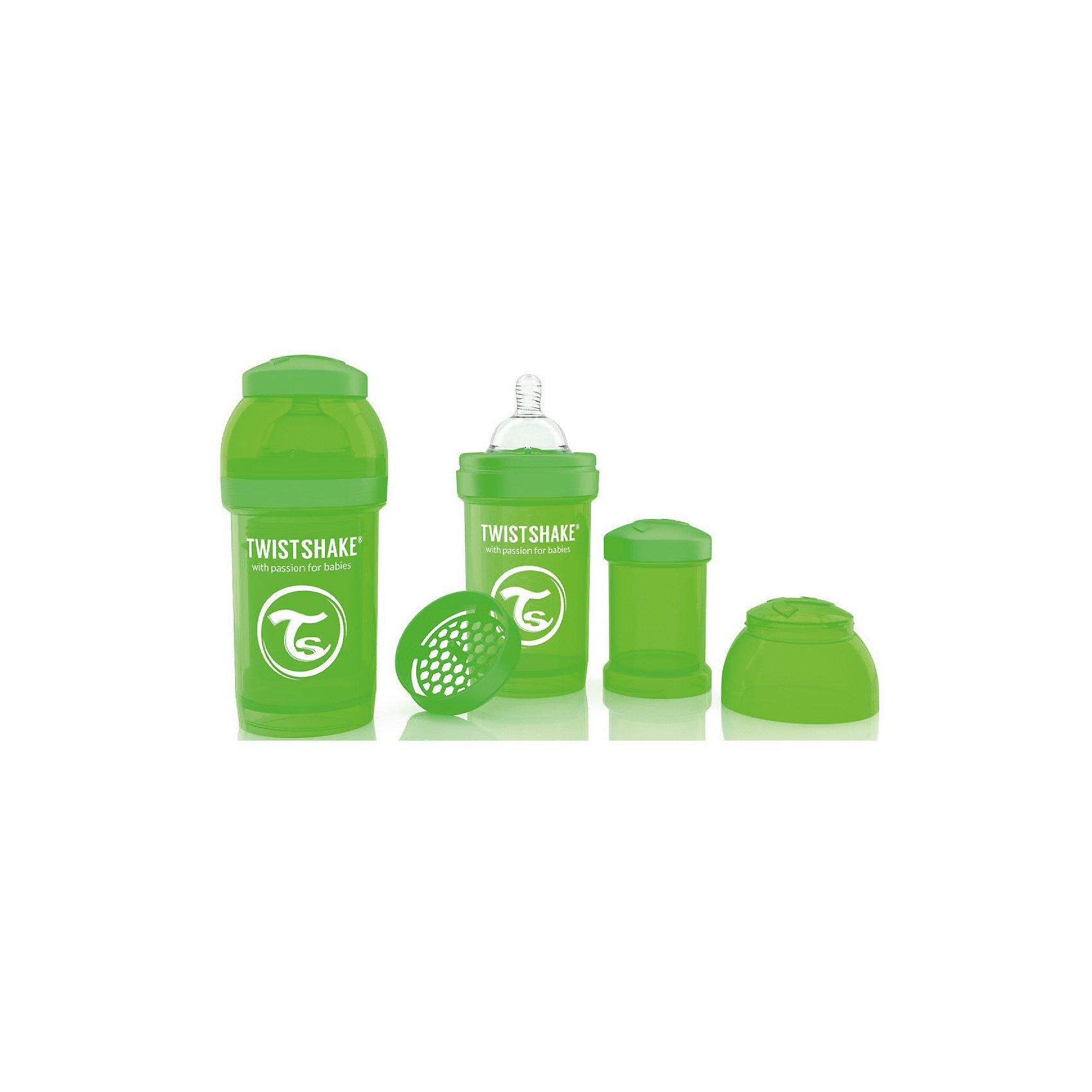 Антиколиковая бутылочка 180 мл., Twistshake, зелёныйАнтиколиковая бутылочка 180 мл., зелёный от шведского бренда Twistshake (Твистшейк), придет по вкусу малышам и современным родителям. Эти бутылочки идут в комплекте с контейнером для сухой смеси, чтобы можно было готовить смесь в любом месте непосредсвенно перед кормлением. Также в комплект входит решеточка для разбивки комочков смеси, делая саму смесь идеальной. Материал бутылочки имеет свойства сохранения температуры, не содержит бисфенол А. Удобная форма горлышка обеспечивает доступ к полной промывки бутылочки, можно стерилизовать как холодным, так и горячим методами. Небольшой контейнер для смеси (100 мл.) можно использовать для хранения еды, например печенья или кусочков яблока. Соска бутылочки имеет ортодонтичную форму, благодаря специальному клапану и строению предотвращает попадание воздуха и снижает вероятность появления коликов у крохи. Все предметы складываются в бутылочку для удобной транспортировки и хранения. Также можно купить бутылочки разных цветов и комбинировать их в любимые цветовые сочетания.<br><br>Дополнительная информация:<br><br>- В комплект входит: бутылочка с соской 180 мл., контейнер с крышкой 100 мл., решетка, крышка для бутылочки.<br>- Состав бутылочки: 100% пропиллен<br>- Состав соски: силикон<br><br>Антиколиковую бутылочку 180 мл., Twistshake, зелёный можно купить в нашем интернет-магазине.<br>Подробнее:<br>• Для детей в возрасте: от 0 до 1 года<br>• Номер товара: 4976041<br>Страна производитель: Китай<br><br>Ширина мм: 70<br>Глубина мм: 70<br>Высота мм: 160<br>Вес г: 152<br>Возраст от месяцев: 0<br>Возраст до месяцев: 12<br>Пол: Унисекс<br>Возраст: Детский<br>SKU: 4976041