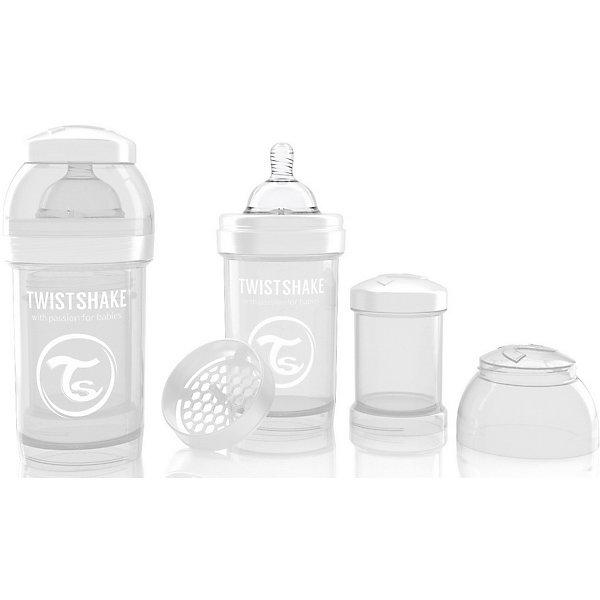 Антиколиковая бутылочка 180 мл., Twistshake, белыйБутылочки и аксессуары<br>Антиколиковая бутылочка 180 мл., белый от шведского бренда Twistshake (Твистшейк), придет по вкусу малышам и современным родителям. Эти бутылочки идут в комплекте с контейнером для сухой смеси, чтобы можно было готовить смесь в любом месте непосредсвенно перед кормлением. Также в комплект входит решеточка для разбивки комочков смеси, делая саму смесь идеальной. Материал бутылочки имеет свойства сохранения температуры, не содержит бисфенол А. Удобная форма горлышка обеспечивает доступ к полной промывки бутылочки, можно стерилизовать как холодным, так и горячим методами. Небольшой контейнер для смеси (100 мл.) можно использовать для хранения еды, например печенья или кусочков яблока. Соска бутылочки имеет ортодонтичную форму, благодаря специальному клапану и строению предотвращает попадание воздуха и снижает вероятность появления коликов у крохи. Все предметы складываются в бутылочку для удобной транспортировки и хранения. Также можно купить бутылочки разных цветов и комбинировать их в любимые цветовые сочетания.<br><br>Дополнительная информация:<br><br>- В комплект входит: бутылочка с соской 180 мл., контейнер с крышкой 100 мл., решетка, крышка для бутылочки.<br>- Состав бутылочки: 100% пропиллен<br>- Состав соски: силикон<br><br>Антиколиковую бутылочку 180 мл., Twistshake, белый можно купить в нашем интернет-магазине.<br>Подробнее:<br>• Для детей в возрасте: от 0 до 1 года<br>• Номер товара: 4976042<br>Страна производитель: Китай<br><br>Ширина мм: 70<br>Глубина мм: 70<br>Высота мм: 160<br>Вес г: 152<br>Возраст от месяцев: 0<br>Возраст до месяцев: 12<br>Пол: Унисекс<br>Возраст: Детский<br>SKU: 4976043