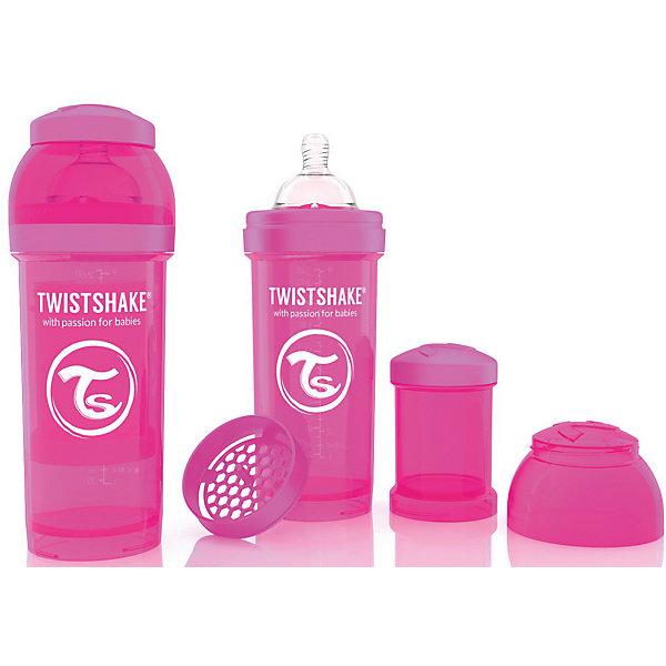 Антиколиковая бутылочка 260 мл., Twistshake, розовыйБутылочки и аксессуары<br>Антиколиковая бутылочка 260 мл., розовый от шведского бренда Twistshake (Твистшейк), придет по вкусу малышам и современным родителям. Эти бутылочки идут в комплекте с контейнером для сухой смеси, чтобы можно было готовить смесь в любом месте непосредсвенно перед кормлением. Также в комплект входит решеточка для разбивки комочков смеси, делая саму смесь идеальной. Материал бутылочки имеет свойства сохранения температуры, не содержит бисфенол А. Удобная форма горлышка обеспечивает доступ к полной промывки бутылочки, можно стерилизовать как холодным, так и горячим методами. Небольшой контейнер для смеси (100 мл.) можно использовать для хранения еды, например печенья или кусочков яблока. Соска бутылочки имеет ортодонтичную форму, благодаря специальному клапану и строению предотвращает попадание воздуха и снижает вероятность появления коликов у крохи. Все предметы складываются в бутылочку для удобной транспортировки и хранения. Также можно купить бутылочки разных цветов и комбинировать их в любимые цветовые сочетания.<br><br>Дополнительная информация:<br><br>- В комплект входит: бутылочка с соской 260 мл., контейнер с крышкой 100 мл., решетка, крышка для бутылочки.<br>- Размер соски: М<br>- Состав бутылочки: 100% пропиллен<br>- Состав соски: силикон<br><br>Антиколиковую бутылочку 260 мл., Twistshake, розовый можно купить в нашем интернет-магазине.<br>Подробнее:<br>• Для детей в возрасте: от 2 месяцев <br>• Номер товара: 4976044<br>Страна производитель: Китай<br>Ширина мм: 70; Глубина мм: 70; Высота мм: 190; Вес г: 164; Возраст от месяцев: 2; Возраст до месяцев: 12; Пол: Унисекс; Возраст: Детский; SKU: 4976044;
