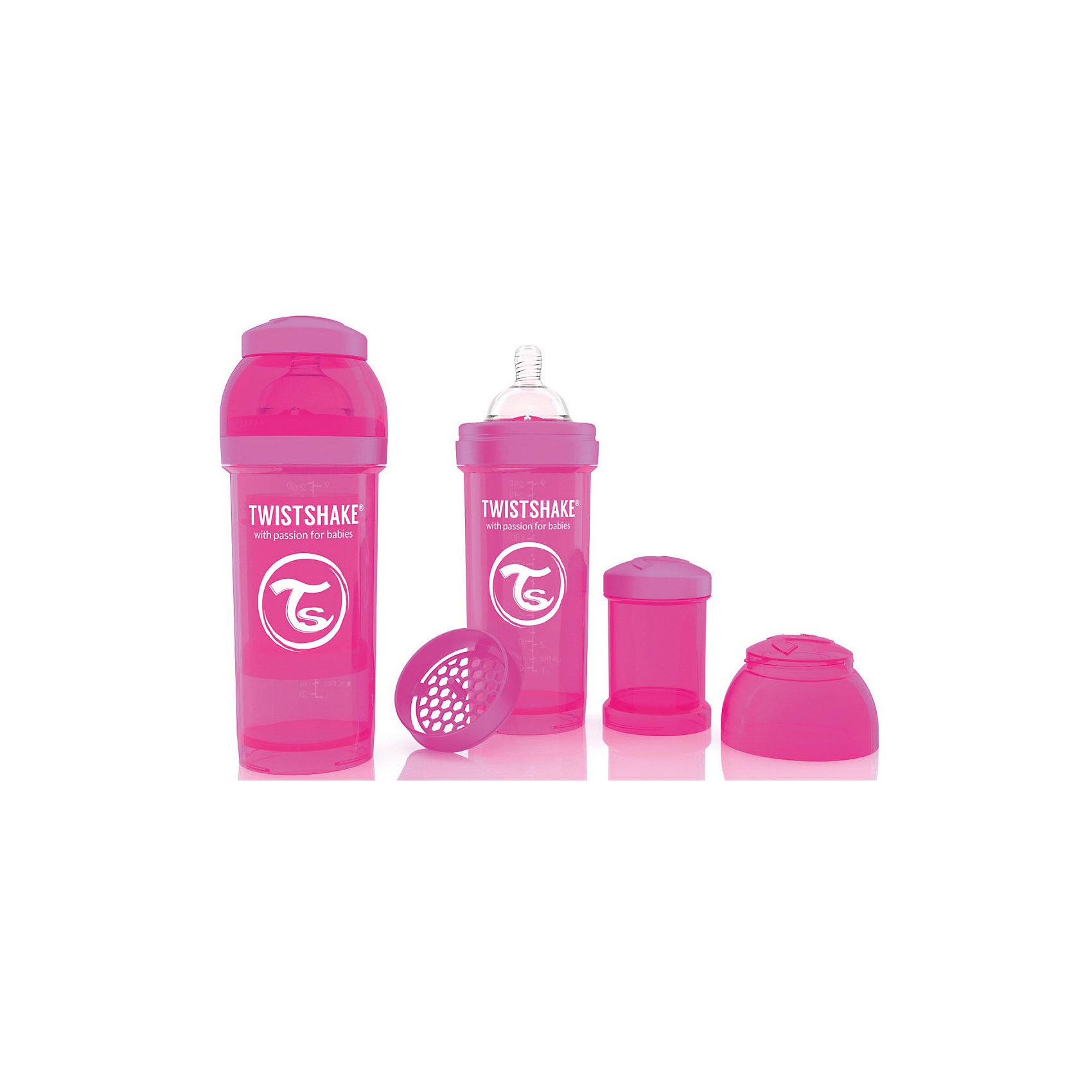 Антиколиковая бутылочка 260 мл., Twistshake, розовыйАнтиколиковая бутылочка 260 мл., розовый от шведского бренда Twistshake (Твистшейк), придет по вкусу малышам и современным родителям. Эти бутылочки идут в комплекте с контейнером для сухой смеси, чтобы можно было готовить смесь в любом месте непосредсвенно перед кормлением. Также в комплект входит решеточка для разбивки комочков смеси, делая саму смесь идеальной. Материал бутылочки имеет свойства сохранения температуры, не содержит бисфенол А. Удобная форма горлышка обеспечивает доступ к полной промывки бутылочки, можно стерилизовать как холодным, так и горячим методами. Небольшой контейнер для смеси (100 мл.) можно использовать для хранения еды, например печенья или кусочков яблока. Соска бутылочки имеет ортодонтичную форму, благодаря специальному клапану и строению предотвращает попадание воздуха и снижает вероятность появления коликов у крохи. Все предметы складываются в бутылочку для удобной транспортировки и хранения. Также можно купить бутылочки разных цветов и комбинировать их в любимые цветовые сочетания.<br><br>Дополнительная информация:<br><br>- В комплект входит: бутылочка с соской 260 мл., контейнер с крышкой 100 мл., решетка, крышка для бутылочки.<br>- Размер соски: М<br>- Состав бутылочки: 100% пропиллен<br>- Состав соски: силикон<br><br>Антиколиковую бутылочку 260 мл., Twistshake, розовый можно купить в нашем интернет-магазине.<br>Подробнее:<br>• Для детей в возрасте: от 2 месяцев <br>• Номер товара: 4976044<br>Страна производитель: Китай<br><br>Ширина мм: 70<br>Глубина мм: 70<br>Высота мм: 190<br>Вес г: 164<br>Возраст от месяцев: 2<br>Возраст до месяцев: 12<br>Пол: Унисекс<br>Возраст: Детский<br>SKU: 4976044