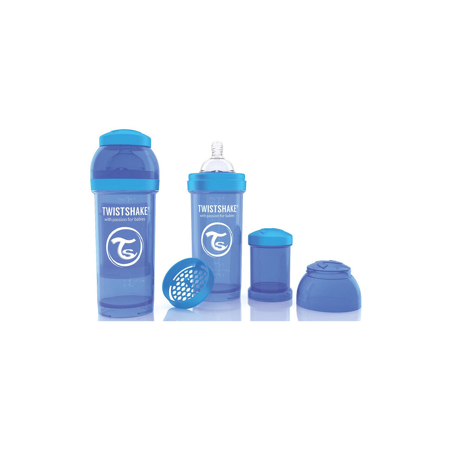 Антиколиковая бутылочка 260 мл., Twistshake, синийБутылочки и аксессуары<br>Антиколиковая бутылочка 260 мл., синий от шведского бренда Twistshake (Твистшейк), придет по вкусу малышам и современным родителям. Эти бутылочки идут в комплекте с контейнером для сухой смеси, чтобы можно было готовить смесь в любом месте непосредсвенно перед кормлением. Также в комплект входит решеточка для разбивки комочков смеси, делая саму смесь идеальной. Материал бутылочки имеет свойства сохранения температуры, не содержит бисфенол А. Удобная форма горлышка обеспечивает доступ к полной промывки бутылочки, можно стерилизовать как холодным, так и горячим методами. Небольшой контейнер для смеси (100 мл.) можно использовать для хранения еды, например печенья или кусочков яблока. Соска бутылочки имеет ортодонтичную форму, благодаря специальному клапану и строению предотвращает попадание воздуха и снижает вероятность появления коликов у крохи. Все предметы складываются в бутылочку для удобной транспортировки и хранения. Также можно купить бутылочки разных цветов и комбинировать их в любимые цветовые сочетания.<br><br>Дополнительная информация:<br><br>- В комплект входит: бутылочка с соской 260 мл., контейнер с крышкой 100 мл., решетка, крышка для бутылочки.<br>- Размер соски: М<br>- Состав бутылочки: 100% пропиллен<br>- Состав соски: силикон<br><br>Антиколиковую бутылочку 260 мл., Twistshake, синий можно купить в нашем интернет-магазине.<br>Подробнее:<br>• Для детей в возрасте: от 2 месяцев <br>• Номер товара: 4976045<br>Страна производитель: Китай<br><br>Ширина мм: 70<br>Глубина мм: 70<br>Высота мм: 190<br>Вес г: 164<br>Возраст от месяцев: 2<br>Возраст до месяцев: 12<br>Пол: Унисекс<br>Возраст: Детский<br>SKU: 4976045