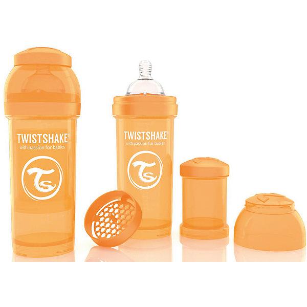 Антиколиковая бутылочка 260 мл., Twistshake, оранжевыйБутылочки и аксессуары<br>Антиколиковая бутылочка 260 мл., оранжевый от шведского бренда Twistshake (Твистшейк), придет по вкусу малышам и современным родителям. Эти бутылочки идут в комплекте с контейнером для сухой смеси, чтобы можно было готовить смесь в любом месте непосредсвенно перед кормлением. Также в комплект входит решеточка для разбивки комочков смеси, делая саму смесь идеальной. Материал бутылочки имеет свойства сохранения температуры, не содержит бисфенол А. Удобная форма горлышка обеспечивает доступ к полной промывки бутылочки, можно стерилизовать как холодным, так и горячим методами. Небольшой контейнер для смеси (100 мл.) можно использовать для хранения еды, например печенья или кусочков яблока. Соска бутылочки имеет ортодонтичную форму, благодаря специальному клапану и строению предотвращает попадание воздуха и снижает вероятность появления коликов у крохи. Все предметы складываются в бутылочку для удобной транспортировки и хранения. Также можно купить бутылочки разных цветов и комбинировать их в любимые цветовые сочетания.<br><br>Дополнительная информация:<br><br>- В комплект входит: бутылочка с соской 260 мл., контейнер с крышкой 100 мл., решетка, крышка для бутылочки.<br>- Размер соски: М<br>- Состав бутылочки: 100% пропиллен<br>- Состав соски: силикон<br><br>Антиколиковую бутылочку 260 мл., Twistshake, оранжевый можно купить в нашем интернет-магазине.<br>Подробнее:<br>• Для детей в возрасте: от 2 месяцев <br>• Номер товара: 4976046<br>Страна производитель: Китай<br>Ширина мм: 70; Глубина мм: 70; Высота мм: 190; Вес г: 164; Возраст от месяцев: 2; Возраст до месяцев: 12; Пол: Унисекс; Возраст: Детский; SKU: 4976046;
