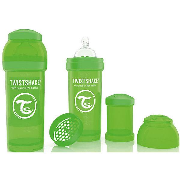 Антиколиковая бутылочка 260 мл., Twistshake, зелёныйБутылочки и аксессуары<br>Антиколиковая бутылочка 260 мл., зелёный от шведского бренда Twistshake (Твистшейк), придет по вкусу малышам и современным родителям. Эти бутылочки идут в комплекте с контейнером для сухой смеси, чтобы можно было готовить смесь в любом месте непосредсвенно перед кормлением. Также в комплект входит решеточка для разбивки комочков смеси, делая саму смесь идеальной. Материал бутылочки имеет свойства сохранения температуры, не содержит бисфенол А. Удобная форма горлышка обеспечивает доступ к полной промывки бутылочки, можно стерилизовать как холодным, так и горячим методами. Небольшой контейнер для смеси (100 мл.) можно использовать для хранения еды, например печенья или кусочков яблока. Соска бутылочки имеет ортодонтичную форму, благодаря специальному клапану и строению предотвращает попадание воздуха и снижает вероятность появления коликов у крохи. Все предметы складываются в бутылочку для удобной транспортировки и хранения. Также можно купить бутылочки разных цветов и комбинировать их в любимые цветовые сочетания.<br><br>Дополнительная информация:<br><br>- В комплект входит: бутылочка с соской 260 мл., контейнер с крышкой 100 мл., решетка, крышка для бутылочки.<br>- Размер соски: М<br>- Состав бутылочки: 100% пропиллен<br>- Состав соски: силикон<br><br>Антиколиковую бутылочку 260 мл., Twistshake, зелёный можно купить в нашем интернет-магазине.<br>Подробнее:<br>• Для детей в возрасте: от 2 месяцев <br>• Номер товара: 4976047<br>Страна производитель: Китай<br><br>Ширина мм: 70<br>Глубина мм: 70<br>Высота мм: 190<br>Вес г: 164<br>Возраст от месяцев: 2<br>Возраст до месяцев: 12<br>Пол: Унисекс<br>Возраст: Детский<br>SKU: 4976047