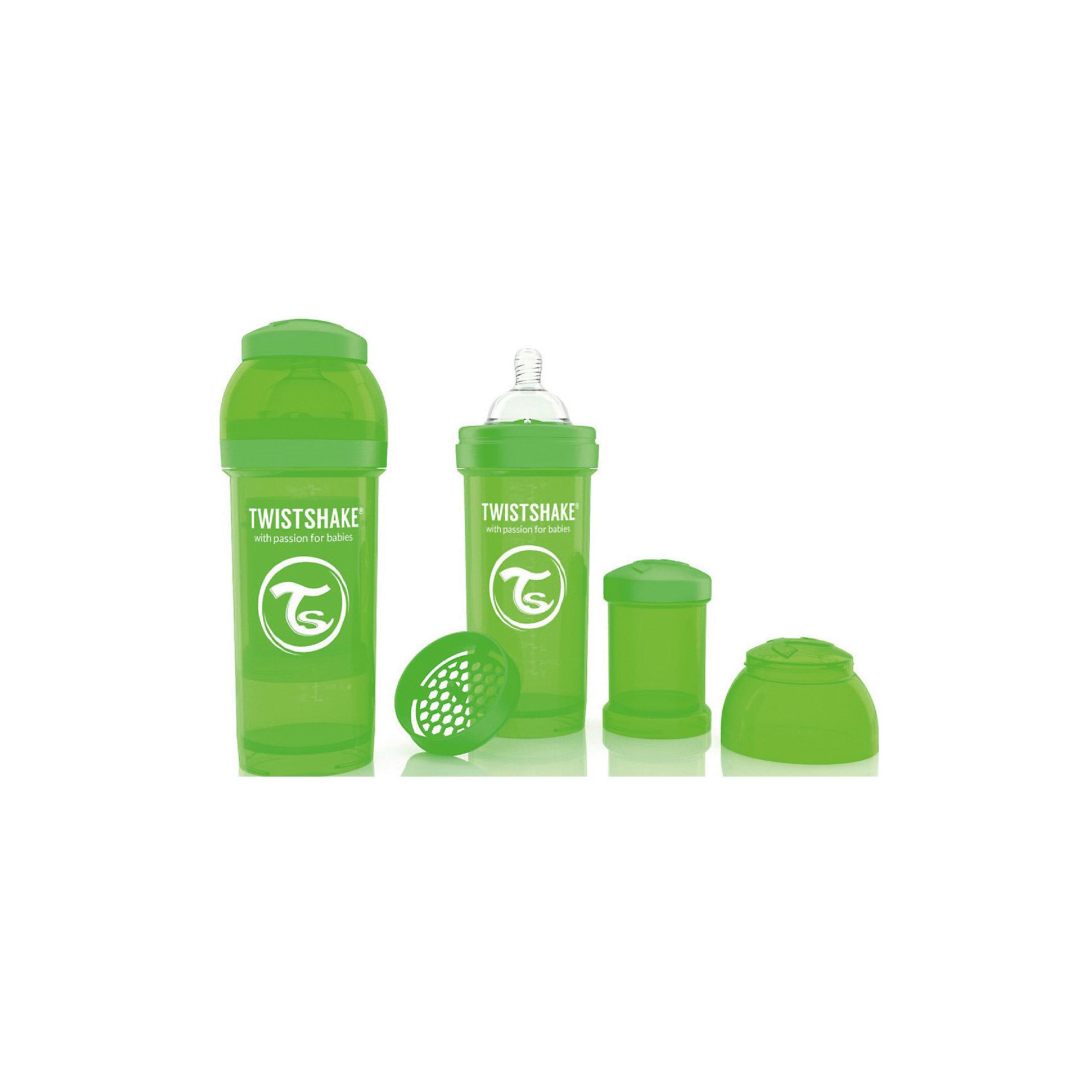 Антиколиковая бутылочка 260 мл., Twistshake, зелёныйАнтиколиковая бутылочка 260 мл., зелёный от шведского бренда Twistshake (Твистшейк), придет по вкусу малышам и современным родителям. Эти бутылочки идут в комплекте с контейнером для сухой смеси, чтобы можно было готовить смесь в любом месте непосредсвенно перед кормлением. Также в комплект входит решеточка для разбивки комочков смеси, делая саму смесь идеальной. Материал бутылочки имеет свойства сохранения температуры, не содержит бисфенол А. Удобная форма горлышка обеспечивает доступ к полной промывки бутылочки, можно стерилизовать как холодным, так и горячим методами. Небольшой контейнер для смеси (100 мл.) можно использовать для хранения еды, например печенья или кусочков яблока. Соска бутылочки имеет ортодонтичную форму, благодаря специальному клапану и строению предотвращает попадание воздуха и снижает вероятность появления коликов у крохи. Все предметы складываются в бутылочку для удобной транспортировки и хранения. Также можно купить бутылочки разных цветов и комбинировать их в любимые цветовые сочетания.<br><br>Дополнительная информация:<br><br>- В комплект входит: бутылочка с соской 260 мл., контейнер с крышкой 100 мл., решетка, крышка для бутылочки.<br>- Размер соски: М<br>- Состав бутылочки: 100% пропиллен<br>- Состав соски: силикон<br><br>Антиколиковую бутылочку 260 мл., Twistshake, зелёный можно купить в нашем интернет-магазине.<br>Подробнее:<br>• Для детей в возрасте: от 2 месяцев <br>• Номер товара: 4976047<br>Страна производитель: Китай<br><br>Ширина мм: 70<br>Глубина мм: 70<br>Высота мм: 190<br>Вес г: 164<br>Возраст от месяцев: 2<br>Возраст до месяцев: 12<br>Пол: Унисекс<br>Возраст: Детский<br>SKU: 4976047