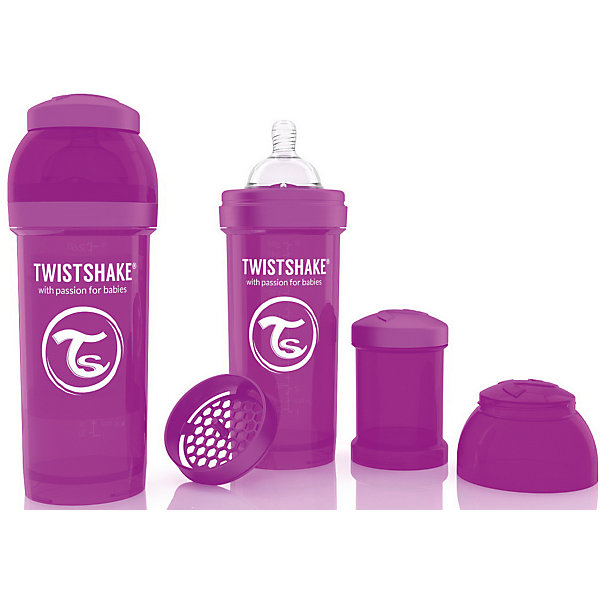 Антиколиковая бутылочка 260 мл., Twistshake, фиолетовыйБутылочки и аксессуары<br>Антиколиковая бутылочка 260 мл., фиолетовый от шведского бренда Twistshake (Твистшейк), придет по вкусу малышам и современным родителям. Эти бутылочки идут в комплекте с контейнером для сухой смеси, чтобы можно было готовить смесь в любом месте непосредсвенно перед кормлением. Также в комплект входит решеточка для разбивки комочков смеси, делая саму смесь идеальной. Материал бутылочки имеет свойства сохранения температуры, не содержит бисфенол А. Удобная форма горлышка обеспечивает доступ к полной промывки бутылочки, можно стерилизовать как холодным, так и горячим методами. Небольшой контейнер для смеси (100 мл.) можно использовать для хранения еды, например печенья или кусочков яблока. Соска бутылочки имеет ортодонтичную форму, благодаря специальному клапану и строению предотвращает попадание воздуха и снижает вероятность появления коликов у крохи. Все предметы складываются в бутылочку для удобной транспортировки и хранения. Также можно купить бутылочки разных цветов и комбинировать их в любимые цветовые сочетания.<br><br>Дополнительная информация:<br><br>- В комплект входит: бутылочка с соской 260 мл., контейнер с крышкой 100 мл., решетка, крышка для бутылочки.<br>- Размер соски: М<br>- Состав бутылочки: 100% пропиллен<br>- Состав соски: силикон<br><br>Антиколиковую бутылочку 260 мл., Twistshake, фиолетовый можно купить в нашем интернет-магазине.<br>Подробнее:<br>• Для детей в возрасте: от 2 месяцев <br>• Номер товара: 4976048<br>Страна производитель: Китай<br><br>Ширина мм: 70<br>Глубина мм: 70<br>Высота мм: 190<br>Вес г: 164<br>Возраст от месяцев: 2<br>Возраст до месяцев: 12<br>Пол: Унисекс<br>Возраст: Детский<br>SKU: 4976048