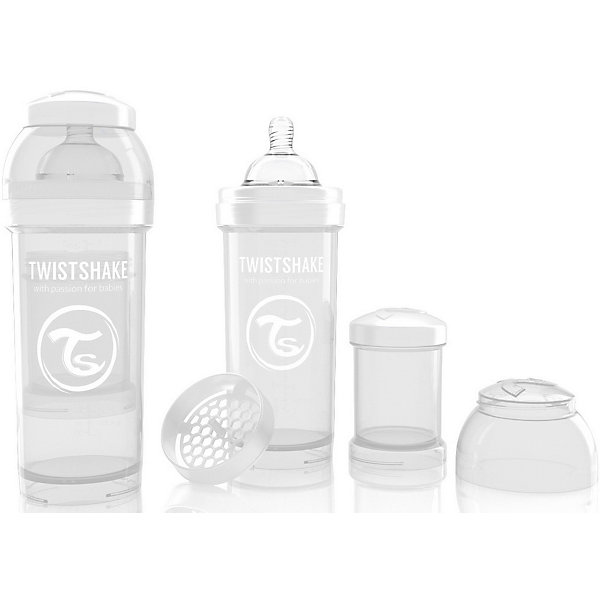 Антиколиковая бутылочка 260 мл., Twistshake, белыйБутылочки и аксессуары<br>Антиколиковая бутылочка 260 мл., белый от шведского бренда Twistshake (Твистшейк), придет по вкусу малышам и современным родителям. Эти бутылочки идут в комплекте с контейнером для сухой смеси, чтобы можно было готовить смесь в любом месте непосредсвенно перед кормлением. Также в комплект входит решеточка для разбивки комочков смеси, делая саму смесь идеальной. Материал бутылочки имеет свойства сохранения температуры, не содержит бисфенол А. Удобная форма горлышка обеспечивает доступ к полной промывки бутылочки, можно стерилизовать как холодным, так и горячим методами. Небольшой контейнер для смеси (100 мл.) можно использовать для хранения еды, например печенья или кусочков яблока. Соска бутылочки имеет ортодонтичную форму, благодаря специальному клапану и строению предотвращает попадание воздуха и снижает вероятность появления коликов у крохи. Все предметы складываются в бутылочку для удобной транспортировки и хранения. Также можно купить бутылочки разных цветов и комбинировать их в любимые цветовые сочетания.<br><br>Дополнительная информация:<br><br>- В комплект входит: бутылочка с соской 260 мл., контейнер с крышкой 100 мл., решетка, крышка для бутылочки.<br>- Размер соски: М<br>- Состав бутылочки: 100% пропиллен<br>- Состав соски: силикон<br><br>Антиколиковую бутылочку 260 мл., Twistshake, белый можно купить в нашем интернет-магазине.<br>Подробнее:<br>• Для детей в возрасте: от 2 месяцев <br>• Номер товара: 4976049<br>Страна производитель: Китай<br><br>Ширина мм: 70<br>Глубина мм: 70<br>Высота мм: 190<br>Вес г: 164<br>Возраст от месяцев: 2<br>Возраст до месяцев: 12<br>Пол: Унисекс<br>Возраст: Детский<br>SKU: 4976049