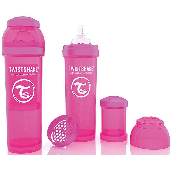Антиколиковая бутылочка 330 мл., Twistshake, розовыйБутылочки и аксессуары<br>Антиколиковая бутылочка 330 мл., розовый от шведского бренда Twistshake (Твистшейк), придет по вкусу малышам и современным родителям. Эти бутылочки идут в комплекте с контейнером для сухой смеси, чтобы можно было готовить смесь в любом месте непосредсвенно перед кормлением. Также в комплект входит решеточка для разбивки комочков смеси, делая саму смесь идеальной. Материал бутылочки имеет свойства сохранения температуры, не содержит бисфенол А. Удобная форма горлышка обеспечивает доступ к полной промывки бутылочки, можно стерилизовать как холодным, так и горячим методами. Небольшой контейнер для смеси (100 мл.) можно использовать для хранения еды, например печенья или кусочков яблока. Соска бутылочки имеет ортодонтичную форму, благодаря специальному клапану и строению предотвращает попадание воздуха и снижает вероятность появления коликов у крохи. Все предметы складываются в бутылочку для удобной транспортировки и хранения. Также можно купить бутылочки разных цветов и комбинировать их в любимые цветовые сочетания.<br><br>Дополнительная информация:<br><br>- В комплект входит: бутылочка с соской 330 мл., контейнер с крышкой 100 мл., решетка, крышка для бутылочки.<br>- Размер соски: L<br>- Состав бутылочки: 100% пропиллен<br>- Состав соски: силикон<br><br>Антиколиковую бутылочку 330 мл., Twistshake, розовый можно купить в нашем интернет-магазине.<br>Подробнее:<br>• Для детей в возрасте: от 4 месяцев <br>• Номер товара: 4976050<br>Страна производитель: Китай<br>Ширина мм: 70; Глубина мм: 70; Высота мм: 220; Вес г: 176; Возраст от месяцев: 4; Возраст до месяцев: 12; Пол: Унисекс; Возраст: Детский; SKU: 4976050;