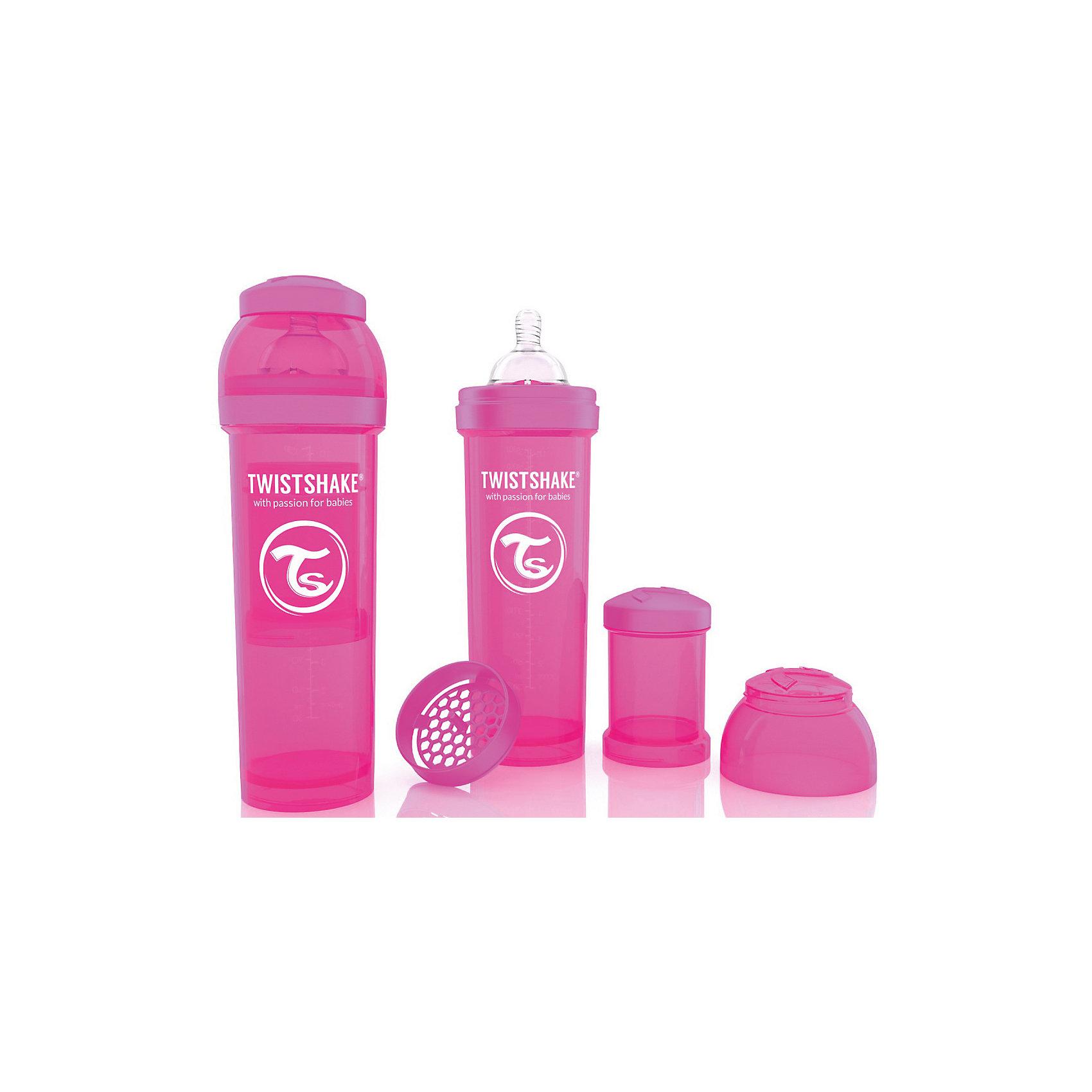 Антиколиковая бутылочка 330 мл., Twistshake, розовыйБутылочки и аксессуары<br>Антиколиковая бутылочка 330 мл., розовый от шведского бренда Twistshake (Твистшейк), придет по вкусу малышам и современным родителям. Эти бутылочки идут в комплекте с контейнером для сухой смеси, чтобы можно было готовить смесь в любом месте непосредсвенно перед кормлением. Также в комплект входит решеточка для разбивки комочков смеси, делая саму смесь идеальной. Материал бутылочки имеет свойства сохранения температуры, не содержит бисфенол А. Удобная форма горлышка обеспечивает доступ к полной промывки бутылочки, можно стерилизовать как холодным, так и горячим методами. Небольшой контейнер для смеси (100 мл.) можно использовать для хранения еды, например печенья или кусочков яблока. Соска бутылочки имеет ортодонтичную форму, благодаря специальному клапану и строению предотвращает попадание воздуха и снижает вероятность появления коликов у крохи. Все предметы складываются в бутылочку для удобной транспортировки и хранения. Также можно купить бутылочки разных цветов и комбинировать их в любимые цветовые сочетания.<br><br>Дополнительная информация:<br><br>- В комплект входит: бутылочка с соской 330 мл., контейнер с крышкой 100 мл., решетка, крышка для бутылочки.<br>- Размер соски: L<br>- Состав бутылочки: 100% пропиллен<br>- Состав соски: силикон<br><br>Антиколиковую бутылочку 330 мл., Twistshake, розовый можно купить в нашем интернет-магазине.<br>Подробнее:<br>• Для детей в возрасте: от 4 месяцев <br>• Номер товара: 4976050<br>Страна производитель: Китай<br><br>Ширина мм: 70<br>Глубина мм: 70<br>Высота мм: 220<br>Вес г: 176<br>Возраст от месяцев: 4<br>Возраст до месяцев: 12<br>Пол: Унисекс<br>Возраст: Детский<br>SKU: 4976050