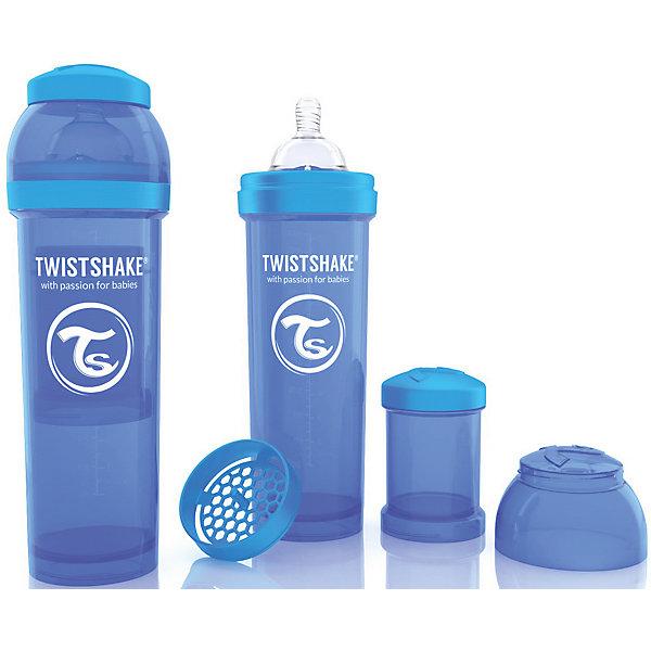 Антиколиковая бутылочка 330 мл., Twistshake, синийБутылочки и аксессуары<br>Антиколиковая бутылочка 330 мл., синий от шведского бренда Twistshake (Твистшейк), придет по вкусу малышам и современным родителям. Эти бутылочки идут в комплекте с контейнером для сухой смеси, чтобы можно было готовить смесь в любом месте непосредсвенно перед кормлением. Также в комплект входит решеточка для разбивки комочков смеси, делая саму смесь идеальной. Материал бутылочки имеет свойства сохранения температуры, не содержит бисфенол А. Удобная форма горлышка обеспечивает доступ к полной промывки бутылочки, можно стерилизовать как холодным, так и горячим методами. Небольшой контейнер для смеси (100 мл.) можно использовать для хранения еды, например печенья или кусочков яблока. Соска бутылочки имеет ортодонтичную форму, благодаря специальному клапану и строению предотвращает попадание воздуха и снижает вероятность появления коликов у крохи. Все предметы складываются в бутылочку для удобной транспортировки и хранения. Также можно купить бутылочки разных цветов и комбинировать их в любимые цветовые сочетания.<br><br>Дополнительная информация:<br><br>- В комплект входит: бутылочка с соской 330 мл., контейнер с крышкой 100 мл., решетка, крышка для бутылочки.<br>- Размер соски: L<br>- Состав бутылочки: 100% пропиллен<br>- Состав соски: силикон<br><br>Антиколиковую бутылочку 330 мл., Twistshake, синий можно купить в нашем интернет-магазине.<br>Подробнее:<br>• Для детей в возрасте: от 4 месяцев <br>• Номер товара: 4976051<br>Страна производитель: Китай<br>Ширина мм: 70; Глубина мм: 70; Высота мм: 220; Вес г: 176; Возраст от месяцев: 4; Возраст до месяцев: 12; Пол: Унисекс; Возраст: Детский; SKU: 4976051;