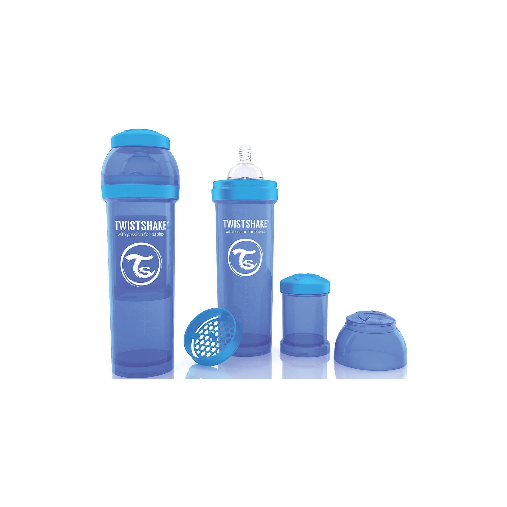 Антиколиковая бутылочка 330 мл., Twistshake, синийБутылочки и аксессуары<br>Антиколиковая бутылочка 330 мл., синий от шведского бренда Twistshake (Твистшейк), придет по вкусу малышам и современным родителям. Эти бутылочки идут в комплекте с контейнером для сухой смеси, чтобы можно было готовить смесь в любом месте непосредсвенно перед кормлением. Также в комплект входит решеточка для разбивки комочков смеси, делая саму смесь идеальной. Материал бутылочки имеет свойства сохранения температуры, не содержит бисфенол А. Удобная форма горлышка обеспечивает доступ к полной промывки бутылочки, можно стерилизовать как холодным, так и горячим методами. Небольшой контейнер для смеси (100 мл.) можно использовать для хранения еды, например печенья или кусочков яблока. Соска бутылочки имеет ортодонтичную форму, благодаря специальному клапану и строению предотвращает попадание воздуха и снижает вероятность появления коликов у крохи. Все предметы складываются в бутылочку для удобной транспортировки и хранения. Также можно купить бутылочки разных цветов и комбинировать их в любимые цветовые сочетания.<br><br>Дополнительная информация:<br><br>- В комплект входит: бутылочка с соской 330 мл., контейнер с крышкой 100 мл., решетка, крышка для бутылочки.<br>- Размер соски: L<br>- Состав бутылочки: 100% пропиллен<br>- Состав соски: силикон<br><br>Антиколиковую бутылочку 330 мл., Twistshake, синий можно купить в нашем интернет-магазине.<br>Подробнее:<br>• Для детей в возрасте: от 4 месяцев <br>• Номер товара: 4976051<br>Страна производитель: Китай<br><br>Ширина мм: 70<br>Глубина мм: 70<br>Высота мм: 220<br>Вес г: 176<br>Возраст от месяцев: 4<br>Возраст до месяцев: 12<br>Пол: Унисекс<br>Возраст: Детский<br>SKU: 4976051