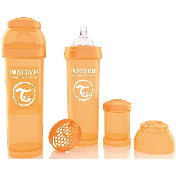 Антиколиковая бутылочка 330 мл., Twistshake, оранжевыйБутылочки и аксессуары<br>Антиколиковая бутылочка 330 мл., оранжевый от шведского бренда Twistshake (Твистшейк), придет по вкусу малышам и современным родителям. Эти бутылочки идут в комплекте с контейнером для сухой смеси, чтобы можно было готовить смесь в любом месте непосредсвенно перед кормлением. Также в комплект входит решеточка для разбивки комочков смеси, делая саму смесь идеальной. Материал бутылочки имеет свойства сохранения температуры, не содержит бисфенол А. Удобная форма горлышка обеспечивает доступ к полной промывки бутылочки, можно стерилизовать как холодным, так и горячим методами. Небольшой контейнер для смеси (100 мл.) можно использовать для хранения еды, например печенья или кусочков яблока. Соска бутылочки имеет ортодонтичную форму, благодаря специальному клапану и строению предотвращает попадание воздуха и снижает вероятность появления коликов у крохи. Все предметы складываются в бутылочку для удобной транспортировки и хранения. Также можно купить бутылочки разных цветов и комбинировать их в любимые цветовые сочетания.<br><br>Дополнительная информация:<br><br>- В комплект входит: бутылочка с соской 330 мл., контейнер с крышкой 100 мл., решетка, крышка для бутылочки.<br>- Размер соски: L<br>- Состав бутылочки: 100% пропиллен<br>- Состав соски: силикон<br><br>Антиколиковую бутылочку 330 мл., Twistshake, оранжевый можно купить в нашем интернет-магазине.<br>Подробнее:<br>• Для детей в возрасте: от 4 месяцев <br>• Номер товара: 4976052<br>Страна производитель: Китай<br><br>Ширина мм: 70<br>Глубина мм: 70<br>Высота мм: 220<br>Вес г: 176<br>Возраст от месяцев: 4<br>Возраст до месяцев: 12<br>Пол: Унисекс<br>Возраст: Детский<br>SKU: 4976052