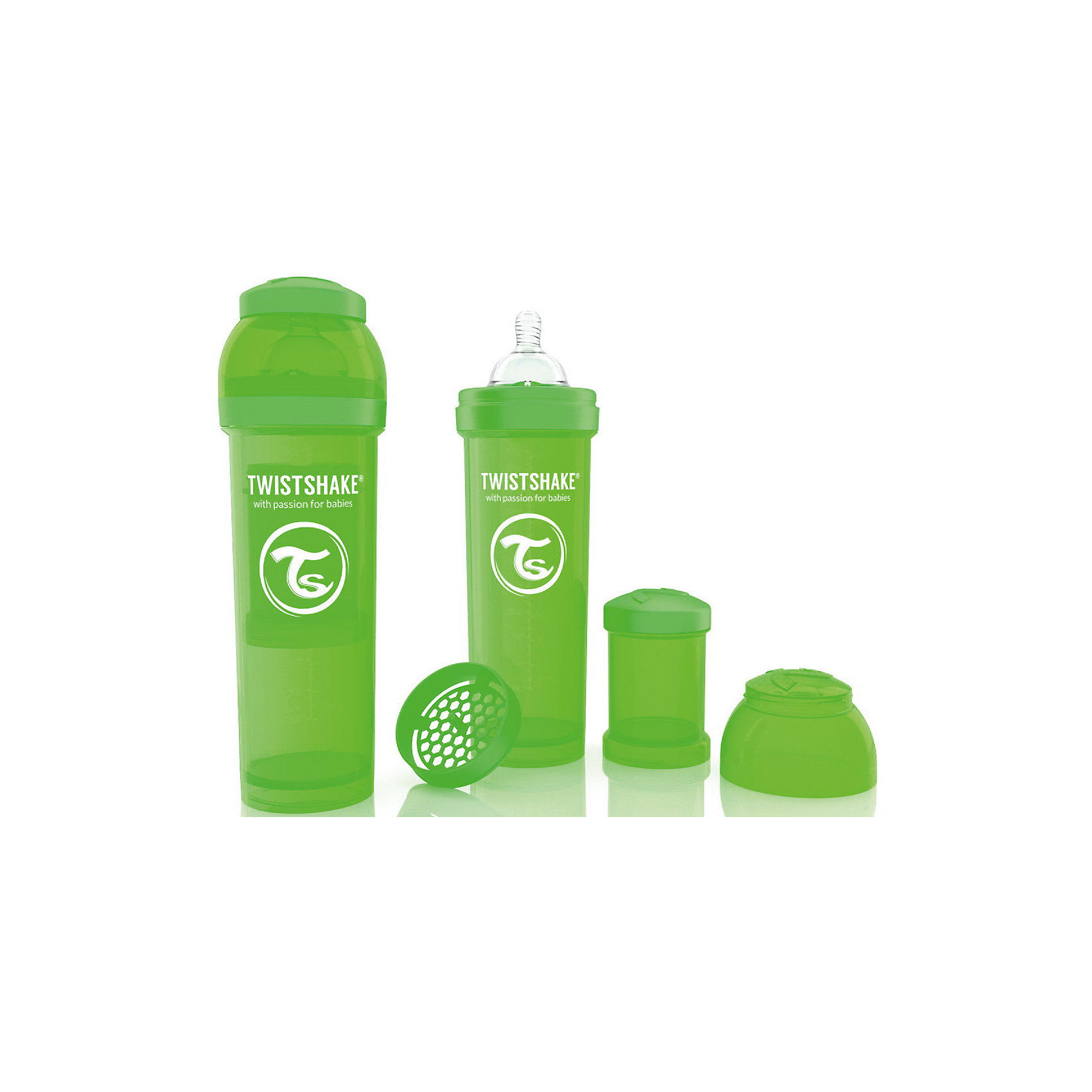Антиколиковая бутылочка 330 мл., Twistshake, зелёныйБутылочки и аксессуары<br>Антиколиковая бутылочка 330 мл., зелёный от шведского бренда Twistshake (Твистшейк), придет по вкусу малышам и современным родителям. Эти бутылочки идут в комплекте с контейнером для сухой смеси, чтобы можно было готовить смесь в любом месте непосредсвенно перед кормлением. Также в комплект входит решеточка для разбивки комочков смеси, делая саму смесь идеальной. Материал бутылочки имеет свойства сохранения температуры, не содержит бисфенол А. Удобная форма горлышка обеспечивает доступ к полной промывки бутылочки, можно стерилизовать как холодным, так и горячим методами. Небольшой контейнер для смеси (100 мл.) можно использовать для хранения еды, например печенья или кусочков яблока. Соска бутылочки имеет ортодонтичную форму, благодаря специальному клапану и строению предотвращает попадание воздуха и снижает вероятность появления коликов у крохи. Все предметы складываются в бутылочку для удобной транспортировки и хранения. Также можно купить бутылочки разных цветов и комбинировать их в любимые цветовые сочетания.<br><br>Дополнительная информация:<br><br>- В комплект входит: бутылочка с соской 330 мл., контейнер с крышкой 100 мл., решетка, крышка для бутылочки.<br>- Размер соски: L<br>- Состав бутылочки: 100% пропиллен<br>- Состав соски: силикон<br><br>Антиколиковую бутылочку 330 мл., Twistshake, зелёный можно купить в нашем интернет-магазине.<br>Подробнее:<br>• Для детей в возрасте: от 4 месяцев <br>• Номер товара: 4976053<br>Страна производитель: Китай<br><br>Ширина мм: 70<br>Глубина мм: 70<br>Высота мм: 220<br>Вес г: 176<br>Возраст от месяцев: 4<br>Возраст до месяцев: 12<br>Пол: Унисекс<br>Возраст: Детский<br>SKU: 4976053