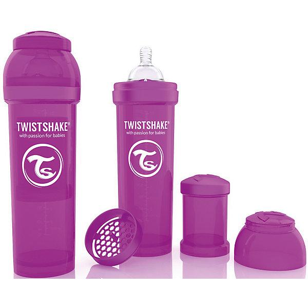 Антиколиковая бутылочка 330 мл., Twistshake, фиолетовыйБутылочки и аксессуары<br>Антиколиковая бутылочка 330 мл., фиолетовый от шведского бренда Twistshake (Твистшейк), придет по вкусу малышам и современным родителям. Эти бутылочки идут в комплекте с контейнером для сухой смеси, чтобы можно было готовить смесь в любом месте непосредсвенно перед кормлением. Также в комплект входит решеточка для разбивки комочков смеси, делая саму смесь идеальной. Материал бутылочки имеет свойства сохранения температуры, не содержит бисфенол А. Удобная форма горлышка обеспечивает доступ к полной промывки бутылочки, можно стерилизовать как холодным, так и горячим методами. Небольшой контейнер для смеси (100 мл.) можно использовать для хранения еды, например печенья или кусочков яблока. Соска бутылочки имеет ортодонтичную форму, благодаря специальному клапану и строению предотвращает попадание воздуха и снижает вероятность появления коликов у крохи. Все предметы складываются в бутылочку для удобной транспортировки и хранения. Также можно купить бутылочки разных цветов и комбинировать их в любимые цветовые сочетания.<br><br>Дополнительная информация:<br><br>- В комплект входит: бутылочка с соской 330 мл., контейнер с крышкой 100 мл., решетка, крышка для бутылочки.<br>- Размер соски: L<br>- Состав бутылочки: 100% пропиллен<br>- Состав соски: силикон<br><br>Антиколиковую бутылочку 330 мл., Twistshake, фиолетовый можно купить в нашем интернет-магазине.<br>Подробнее:<br>• Для детей в возрасте: от 4 месяцев <br>• Номер товара: 4976054<br>Страна производитель: Китай<br><br>Ширина мм: 70<br>Глубина мм: 70<br>Высота мм: 220<br>Вес г: 176<br>Возраст от месяцев: 4<br>Возраст до месяцев: 12<br>Пол: Унисекс<br>Возраст: Детский<br>SKU: 4976054