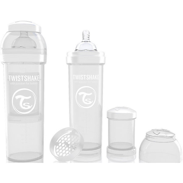 Антиколиковая бутылочка 330 мл., Twistshake, белыйБутылочки и аксессуары<br>Антиколиковая бутылочка 330 мл., белый от шведского бренда Twistshake (Твистшейк), придет по вкусу малышам и современным родителям. Эти бутылочки идут в комплекте с контейнером для сухой смеси, чтобы можно было готовить смесь в любом месте непосредсвенно перед кормлением. Также в комплект входит решеточка для разбивки комочков смеси, делая саму смесь идеальной. Материал бутылочки имеет свойства сохранения температуры, не содержит бисфенол А. Удобная форма горлышка обеспечивает доступ к полной промывки бутылочки, можно стерилизовать как холодным, так и горячим методами. Небольшой контейнер для смеси (100 мл.) можно использовать для хранения еды, например печенья или кусочков яблока. Соска бутылочки имеет ортодонтичную форму, благодаря специальному клапану и строению предотвращает попадание воздуха и снижает вероятность появления коликов у крохи. Все предметы складываются в бутылочку для удобной транспортировки и хранения. Также можно купить бутылочки разных цветов и комбинировать их в любимые цветовые сочетания.<br><br>Дополнительная информация:<br><br>- В комплект входит: бутылочка с соской 330 мл., контейнер с крышкой 100 мл., решетка, крышка для бутылочки.<br>- Размер соски: L<br>- Состав бутылочки: 100% пропиллен<br>- Состав соски: силикон<br><br>Антиколиковую бутылочку 330 мл., Twistshake, белый можно купить в нашем интернет-магазине.<br>Подробнее:<br>• Для детей в возрасте: от 4 месяцев <br>• Номер товара: 4976055<br>Страна производитель: Китай<br><br>Ширина мм: 70<br>Глубина мм: 70<br>Высота мм: 220<br>Вес г: 176<br>Возраст от месяцев: 4<br>Возраст до месяцев: 12<br>Пол: Унисекс<br>Возраст: Детский<br>SKU: 4976055