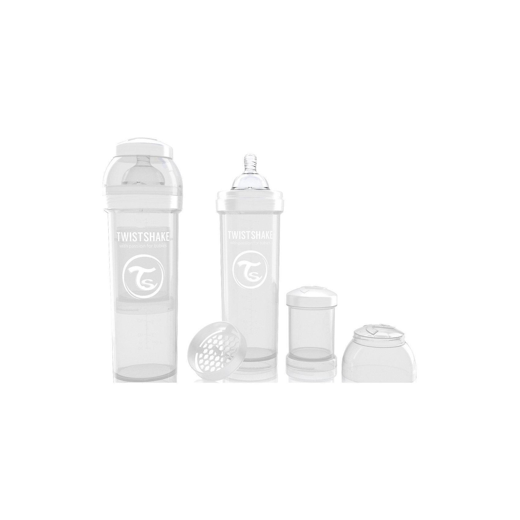 Антиколиковая бутылочка 330 мл., Twistshake, белыйАнтиколиковая бутылочка 330 мл., белый от шведского бренда Twistshake (Твистшейк), придет по вкусу малышам и современным родителям. Эти бутылочки идут в комплекте с контейнером для сухой смеси, чтобы можно было готовить смесь в любом месте непосредсвенно перед кормлением. Также в комплект входит решеточка для разбивки комочков смеси, делая саму смесь идеальной. Материал бутылочки имеет свойства сохранения температуры, не содержит бисфенол А. Удобная форма горлышка обеспечивает доступ к полной промывки бутылочки, можно стерилизовать как холодным, так и горячим методами. Небольшой контейнер для смеси (100 мл.) можно использовать для хранения еды, например печенья или кусочков яблока. Соска бутылочки имеет ортодонтичную форму, благодаря специальному клапану и строению предотвращает попадание воздуха и снижает вероятность появления коликов у крохи. Все предметы складываются в бутылочку для удобной транспортировки и хранения. Также можно купить бутылочки разных цветов и комбинировать их в любимые цветовые сочетания.<br><br>Дополнительная информация:<br><br>- В комплект входит: бутылочка с соской 330 мл., контейнер с крышкой 100 мл., решетка, крышка для бутылочки.<br>- Размер соски: L<br>- Состав бутылочки: 100% пропиллен<br>- Состав соски: силикон<br><br>Антиколиковую бутылочку 330 мл., Twistshake, белый можно купить в нашем интернет-магазине.<br>Подробнее:<br>• Для детей в возрасте: от 4 месяцев <br>• Номер товара: 4976055<br>Страна производитель: Китай<br><br>Ширина мм: 70<br>Глубина мм: 70<br>Высота мм: 220<br>Вес г: 176<br>Возраст от месяцев: 4<br>Возраст до месяцев: 12<br>Пол: Унисекс<br>Возраст: Детский<br>SKU: 4976055