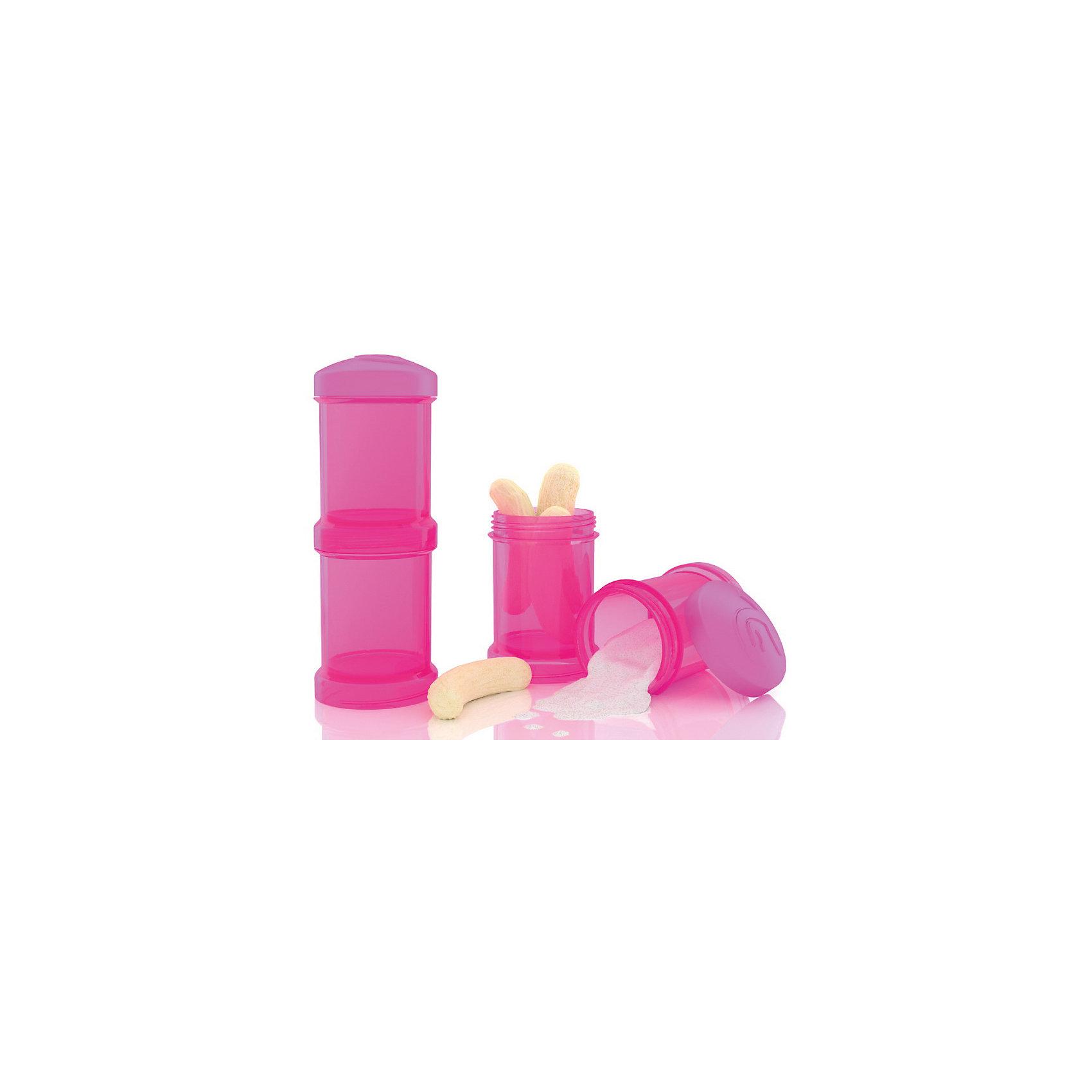 Контейнер для сухой смеси 100 мл. 2 шт., TwistShake, розовыйПосуда для малышей<br>Контейнер для сухой смеси 100 мл. 2 шт., розовый от шведского бренда Twistshake (Твистшейк), придет по вкусу малышам и современным родителям. Эти контейнеры прекрасно подходят для хранения детской смеси и оптимальны в использовании, их горлышко меньше горлышка любых бутылочек Twistshake (Твистшейк), потому позволяют пересыпать смесь без просыпания. Контейнеры также подходят для хранения каш, фруктов, сухофруктов, печенья или других необходимых на прогулке или в дороге продуктов. Материал контейнеров не содержит бисфенол А. Удобная форма горлышка обеспечивает доступ к полной промывки контейнера, можно стерилизовать как холодным, так и горячим методами. <br><br>Дополнительная информация:<br><br>- В комплект входит: два контейнера по 100 мл. <br>- Состав: 100% пропиллен<br><br>Контейнер для сухой смеси 100 мл. 2 шт., TwistShake, розовый можно купить в нашем интернет-магазине.<br>Подробнее:<br>• Для детей в возрасте: от 0 лет <br>• Номер товара: 4976056<br>Страна производитель: Китай<br><br>Ширина мм: 55<br>Глубина мм: 55<br>Высота мм: 150<br>Вес г: 75<br>Возраст от месяцев: 0<br>Возраст до месяцев: 36<br>Пол: Унисекс<br>Возраст: Детский<br>SKU: 4976056