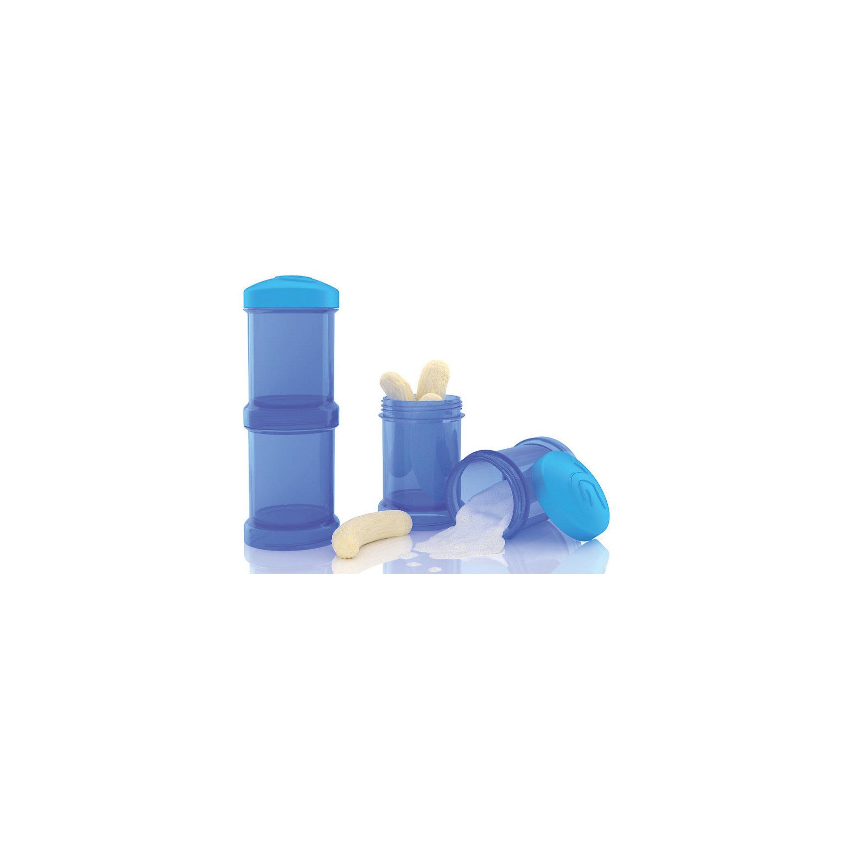 Контейнер для сухой смеси 100 мл. 2 шт., TwistShake, синийПосуда для малышей<br>Контейнер для сухой смеси 100 мл. 2 шт., синий от шведского бренда Twistshake (Твистшейк), придет по вкусу малышам и современным родителям. Эти контейнеры прекрасно подходят для хранения детской смеси и оптимальны в использовании, их горлышко меньше горлышка любых бутылочек Twistshake (Твистшейк), потому позволяют пересыпать смесь без просыпания. Контейнеры также подходят для хранения каш, фруктов, сухофруктов, печенья или других необходимых на прогулке или в дороге продуктов. Материал контейнеров не содержит бисфенол А. Удобная форма горлышка обеспечивает доступ к полной промывки контейнера, можно стерилизовать как холодным, так и горячим методами. <br><br>Дополнительная информация:<br><br>- В комплект входит: два контейнера по 100 мл. <br>- Состав: 100% пропиллен<br><br>Контейнер для сухой смеси 100 мл. 2 шт., TwistShake, синий можно купить в нашем интернет-магазине.<br>Подробнее:<br>• Для детей в возрасте: от 0 лет <br>• Номер товара: 4976057<br>Страна производитель: Китай<br><br>Ширина мм: 55<br>Глубина мм: 55<br>Высота мм: 150<br>Вес г: 75<br>Возраст от месяцев: 0<br>Возраст до месяцев: 36<br>Пол: Унисекс<br>Возраст: Детский<br>SKU: 4976057