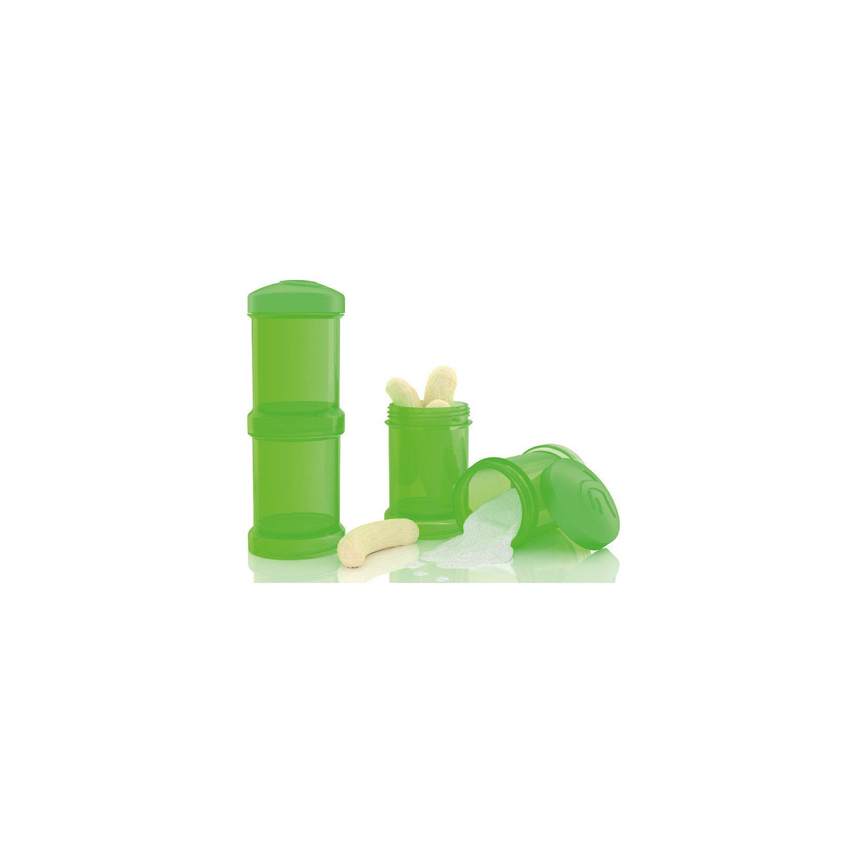Контейнер для сухой смеси 100 мл. 2 шт., TwistShake, зелёныйПосуда для малышей<br>Контейнер для сухой смеси 100 мл. 2 шт., зелёный от шведского бренда Twistshake (Твистшейк), придет по вкусу малышам и современным родителям. Эти контейнеры прекрасно подходят для хранения детской смеси и оптимальны в использовании, их горлышко меньше горлышка любых бутылочек Twistshake (Твистшейк), потому позволяют пересыпать смесь без просыпания. Контейнеры также подходят для хранения каш, фруктов, сухофруктов, печенья или других необходимых на прогулке или в дороге продуктов. Материал контейнеров не содержит бисфенол А. Удобная форма горлышка обеспечивает доступ к полной промывки контейнера, можно стерилизовать как холодным, так и горячим методами. <br><br>Дополнительная информация:<br><br>- В комплект входит: два контейнера по 100 мл. <br>- Состав: 100% пропиллен<br><br>Контейнер для сухой смеси 100 мл. 2 шт., TwistShake, зелёный можно купить в нашем интернет-магазине.<br>Подробнее:<br>• Для детей в возрасте: от 0 лет <br>• Номер товара: 4976059<br>Страна производитель: Китай<br><br>Ширина мм: 55<br>Глубина мм: 55<br>Высота мм: 150<br>Вес г: 75<br>Возраст от месяцев: 0<br>Возраст до месяцев: 36<br>Пол: Унисекс<br>Возраст: Детский<br>SKU: 4976059