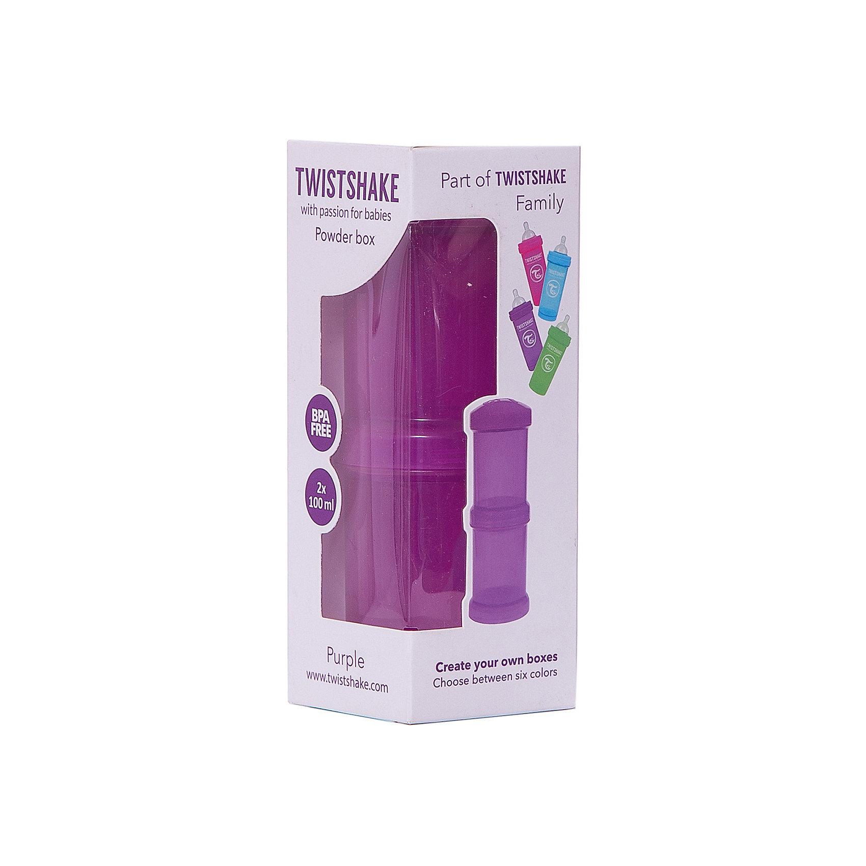 Контейнер для сухой смеси 100 мл. 2 шт., TwistShake, фиолетовыйКонтейнер для сухой смеси 100 мл. 2 шт., фиолетовый от шведского бренда Twistshake (Твистшейк), придет по вкусу малышам и современным родителям. Эти контейнеры прекрасно подходят для хранения детской смеси и оптимальны в использовании, их горлышко меньше горлышка любых бутылочек Twistshake (Твистшейк), потому позволяют пересыпать смесь без просыпания. Контейнеры также подходят для хранения каш, фруктов, сухофруктов, печенья или других необходимых на прогулке или в дороге продуктов. Материал контейнеров не содержит бисфенол А. Удобная форма горлышка обеспечивает доступ к полной промывки контейнера, можно стерилизовать как холодным, так и горячим методами. <br><br>Дополнительная информация:<br><br>- В комплект входит: два контейнера по 100 мл. <br>- Состав: 100% пропиллен<br><br>Контейнер для сухой смеси 100 мл. 2 шт., TwistShake, фиолетовый можно купить в нашем интернет-магазине.<br>Подробнее:<br>• Для детей в возрасте: от 0 лет <br>• Номер товара: 4976060<br>Страна производитель: Китай<br><br>Ширина мм: 55<br>Глубина мм: 55<br>Высота мм: 150<br>Вес г: 75<br>Возраст от месяцев: 0<br>Возраст до месяцев: 36<br>Пол: Унисекс<br>Возраст: Детский<br>SKU: 4976060