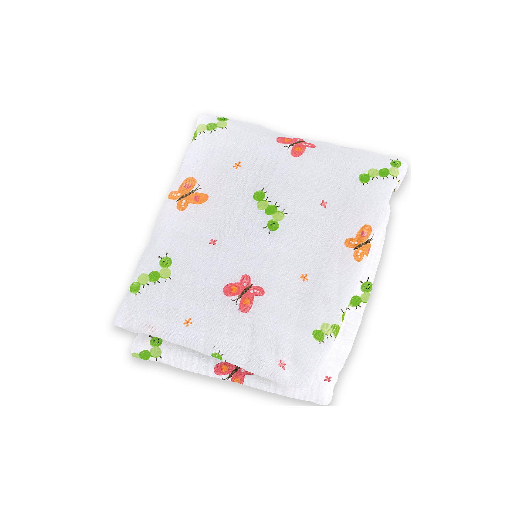 Муслиновая пелёнка Garden Party 120х120, LulujoМуслиновая пелёнка Garden Party 120х120, Lulujo, это двухсторонняя мягкая пеленка большого размера, предназначена как для пеленания, так и покрывала или использования в виде обычных простыней. Яркие бабочки, гусеницы и цветочки на нейтральном белом фоне помогут создать атмосферу уюта в комнате малыша. Хлопковый муслин обеспечит малышу комфорт и тепло, материал отлично пропускает воздух, с этой тканью кожа ребенка дышит.<br>Дополнительная информация:<br><br>- В комплект входит: 1 пеленка<br>- Тип ткани: Муслин<br>- Состав: 100% хлопок <br>- Размер: 120 * 120 см. <br>- Cтирка: машинная, 40 градусов<br><br>Муслиновую пелёнку Garden Party 120х120, Lulujo можно купить в нашем интернет-магазине.<br>Подробнее:<br>• Для детей в возрасте: от 0 лет<br>• Номер товара: 4976070<br>Страна производитель: Турция<br><br>Ширина мм: 100<br>Глубина мм: 55<br>Высота мм: 240<br>Вес г: 160<br>Возраст от месяцев: 0<br>Возраст до месяцев: 36<br>Пол: Унисекс<br>Возраст: Детский<br>SKU: 4976070