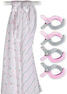 Муслиновая пелёнка 2 шт. с клипсами 4 шт., 120х120, Lulujo, розовый