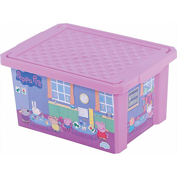 Ящик для хранения игрушек X-BOX Свинка Пеппа 17л, Little Angel, розовыйЯщики для игрушек<br>Порядок в детской с любимыми героями – легко и весело. Теперь для игрушек, канцелярских принадлежностей и других важных мелочей всегда найдется место. Эксклюзивные декоры с любимыми героями несомненно станут украшением каждой детской. Преимущества: эксклюзивные декоры с любимыми героями; надежные крышки с привлекательной текстурой; возможность штабелирования ящиков друг на друга.<br>Ширина мм: 405; Глубина мм: 305; Высота мм: 210; Вес г: 700; Возраст от месяцев: 24; Возраст до месяцев: 72; Пол: Женский; Возраст: Детский; SKU: 4976089;