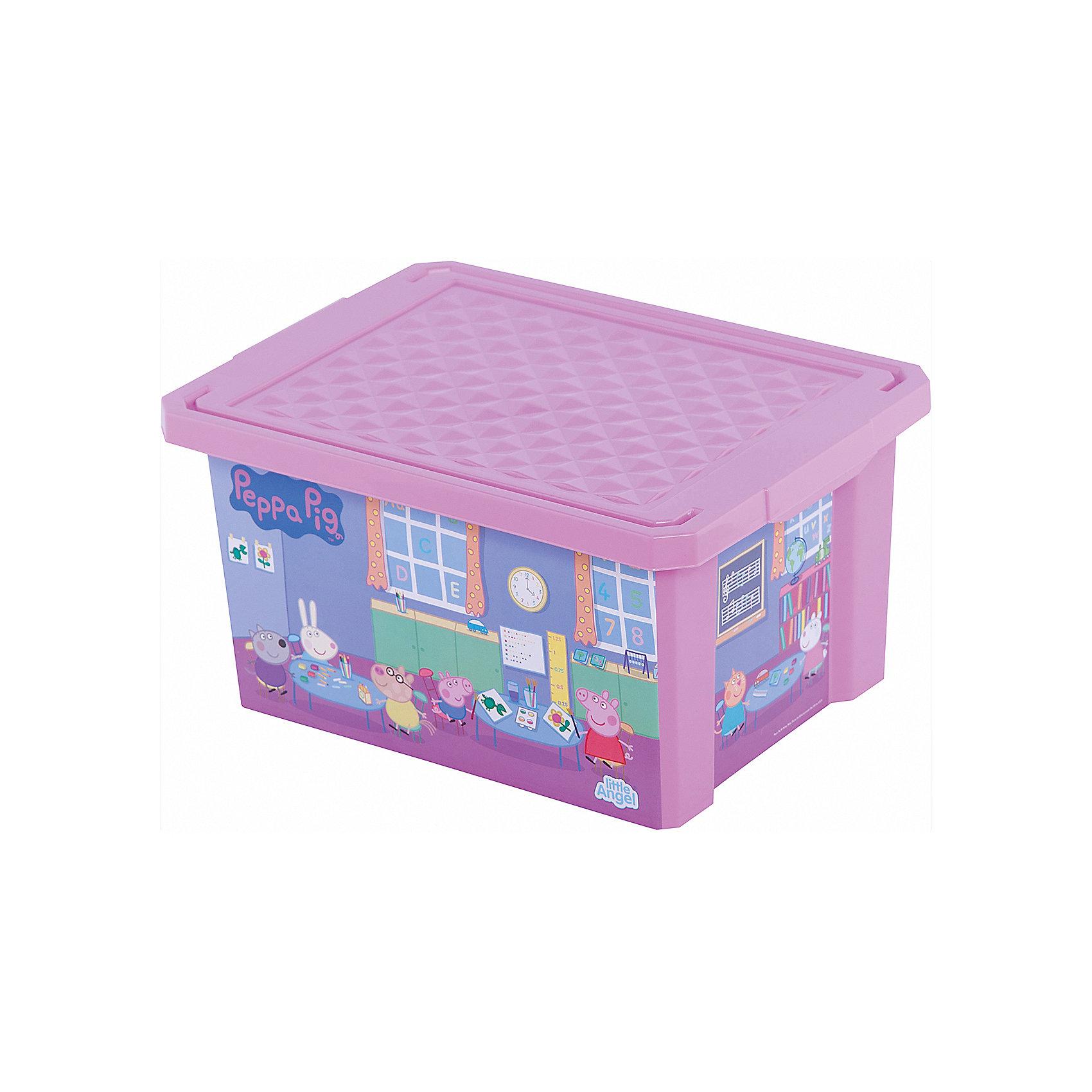 Ящик для хранения игрушек X-BOX Свинка Пеппа 17л, Little Angel, розовыйПорядок в детской с любимыми героями – легко и весело. Теперь для игрушек, канцелярских принадлежностей и других важных мелочей всегда найдется место. Эксклюзивные декоры с любимыми героями несомненно станут украшением каждой детской. Преимущества: эксклюзивные декоры с любимыми героями; надежные крышки с привлекательной текстурой; возможность штабелирования ящиков друг на друга.<br><br>Ширина мм: 405<br>Глубина мм: 305<br>Высота мм: 210<br>Вес г: 700<br>Возраст от месяцев: 24<br>Возраст до месяцев: 72<br>Пол: Женский<br>Возраст: Детский<br>SKU: 4976089