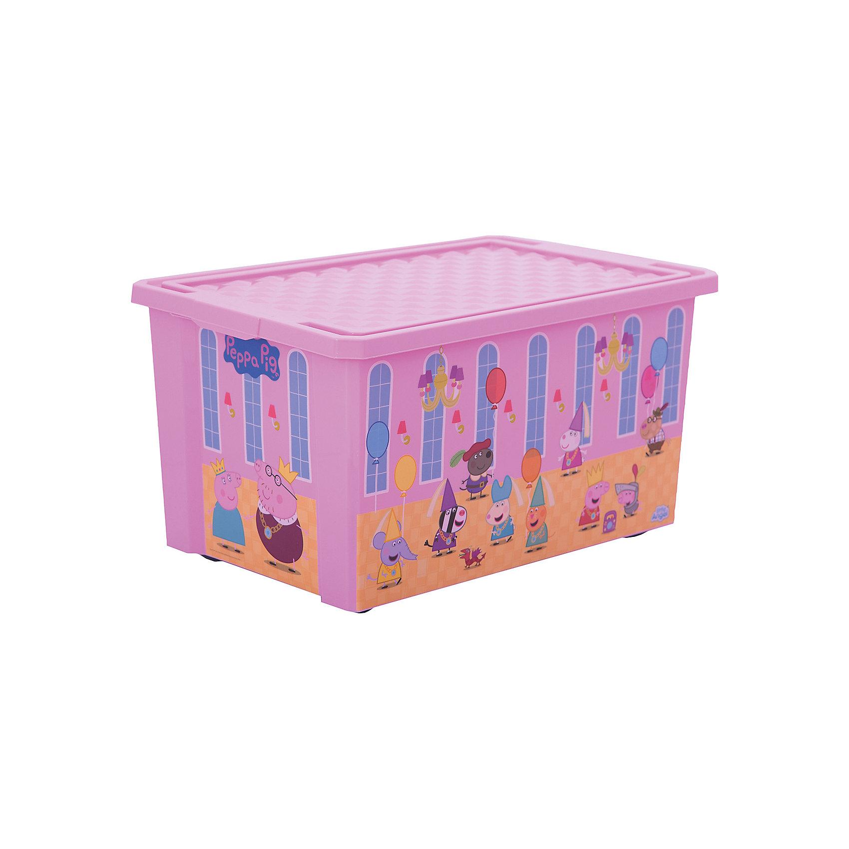 Ящик для хранения игрушек X-BOX Свинка Пеппа 57л, Little Angel, розовыйПорядок в детской<br>Лучшее решение для поддержания порядка в детской – это большой ящик на колесах. Все игрушки собраны в одном месте, ящик плотно закрывается крышкой, его всегда можно с легкостью переместить. Яркие декоры с любимыми героями наполнят детскую радостью и помогут приучить малыша к порядку. Преимущества: эксклюзивные декоры с любимыми героями; эффективные колеса-роллеры на дне; надежная крышка с привлекательной текстурой; возможность штабелирования ящиков друг на друга; декор размещен на всех сторонах ящика.<br><br>Ширина мм: 610<br>Глубина мм: 405<br>Высота мм: 330<br>Вес г: 2000<br>Возраст от месяцев: 24<br>Возраст до месяцев: 72<br>Пол: Женский<br>Возраст: Детский<br>SKU: 4976090