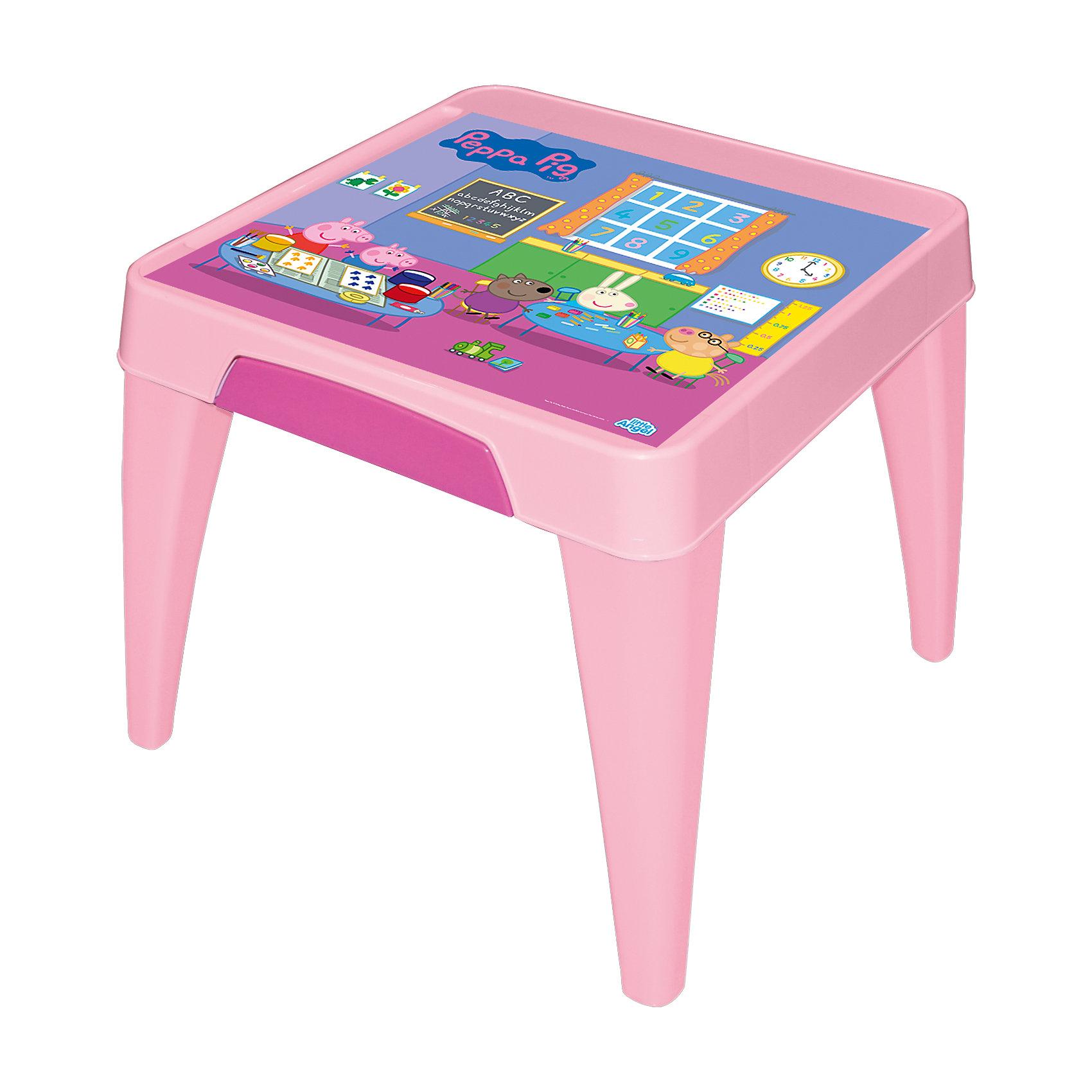 Стол Я расту  Свинка Пеппа, Little Angel, розовыйМебель<br>Детский стол от Little Angel – Ваш верный спутник в организации комфорта для малыша. Оптимальные пропорции и продуманная с учетом всех потребностей ребенка конструкция, делают стол идеальным для обучения, игр и приема пищи.  Закругленные углы столешницы и ножек для безопасности малыша. Выдвижной ящик для хранения важных мелочей. Углубления по краям столешницы для карандашей, ручек и кисточек. Нескользящая поверхность стола для комфортных игр и обучения. Противоскользящие накладки на ножках для использования на любой поверхности. Особо прочная конструкция ножек стола для надежной и безопасной эксплуатации.<br><br>Ширина мм: 605<br>Глубина мм: 605<br>Высота мм: 500<br>Вес г: 3600<br>Возраст от месяцев: 24<br>Возраст до месяцев: 72<br>Пол: Женский<br>Возраст: Детский<br>SKU: 4976092